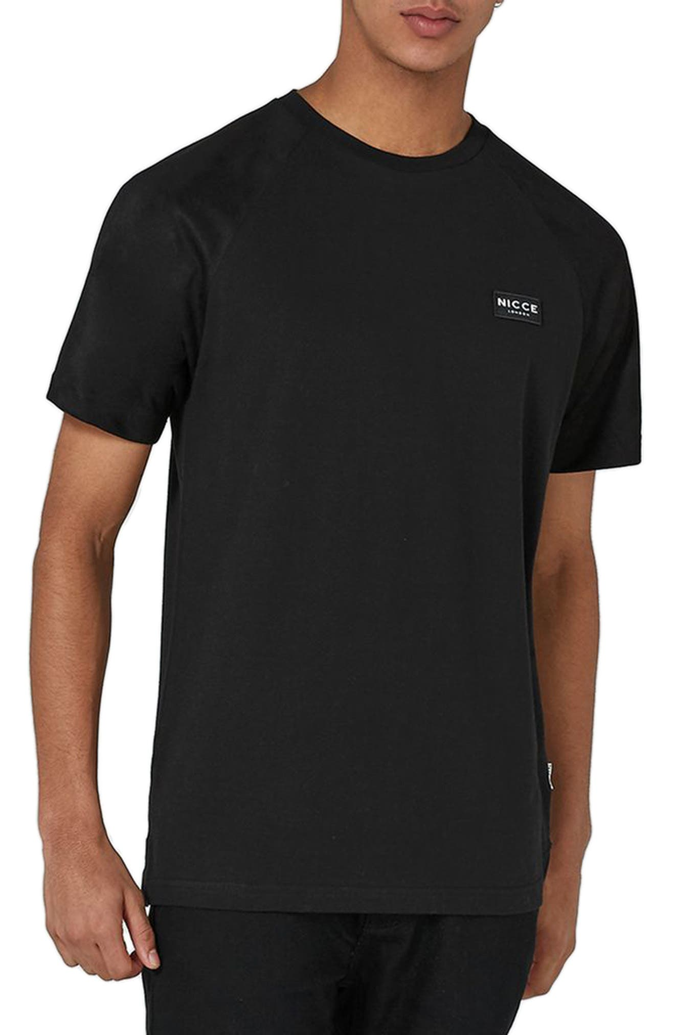 Slim Fit NICCE Logo Patch T-Shirt,                         Main,                         color, Black
