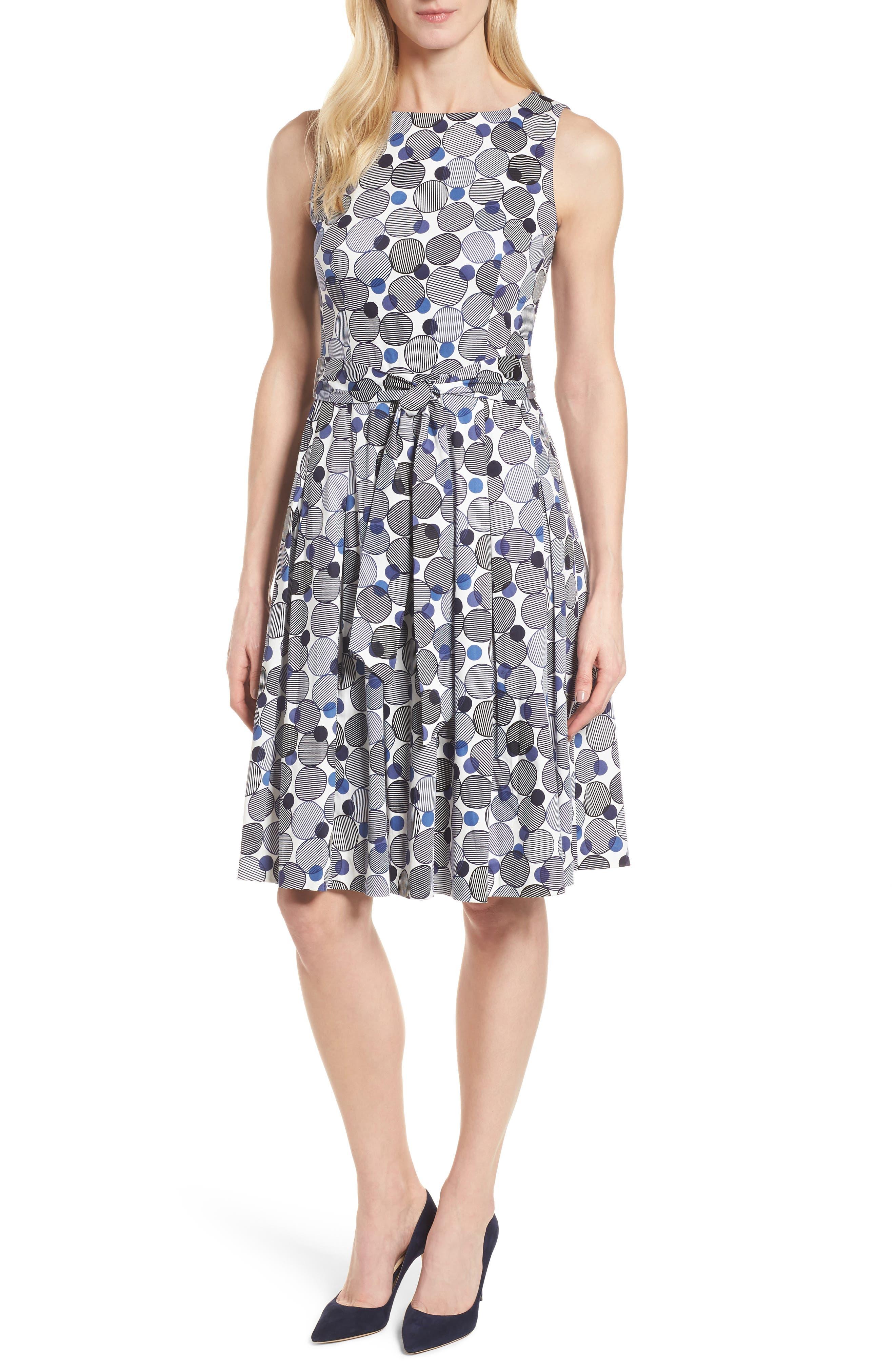 Malibu Bluffs Stretch Cotton Fit & Flare Dress,                         Main,                         color, Breton Blue/ Monaco Combo