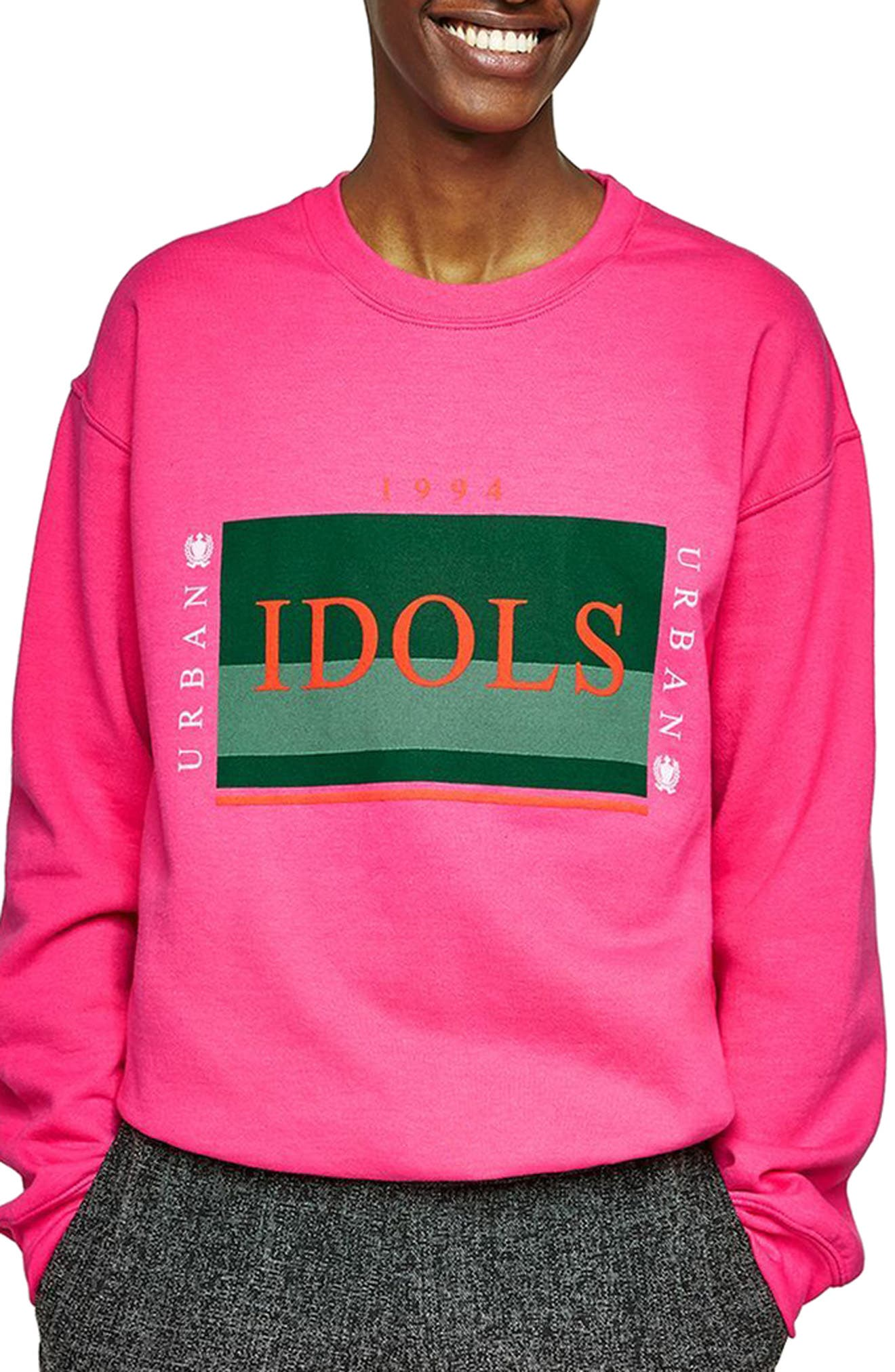 Urban Idols Graphic Sweatshirt,                         Main,                         color, Pink Multi
