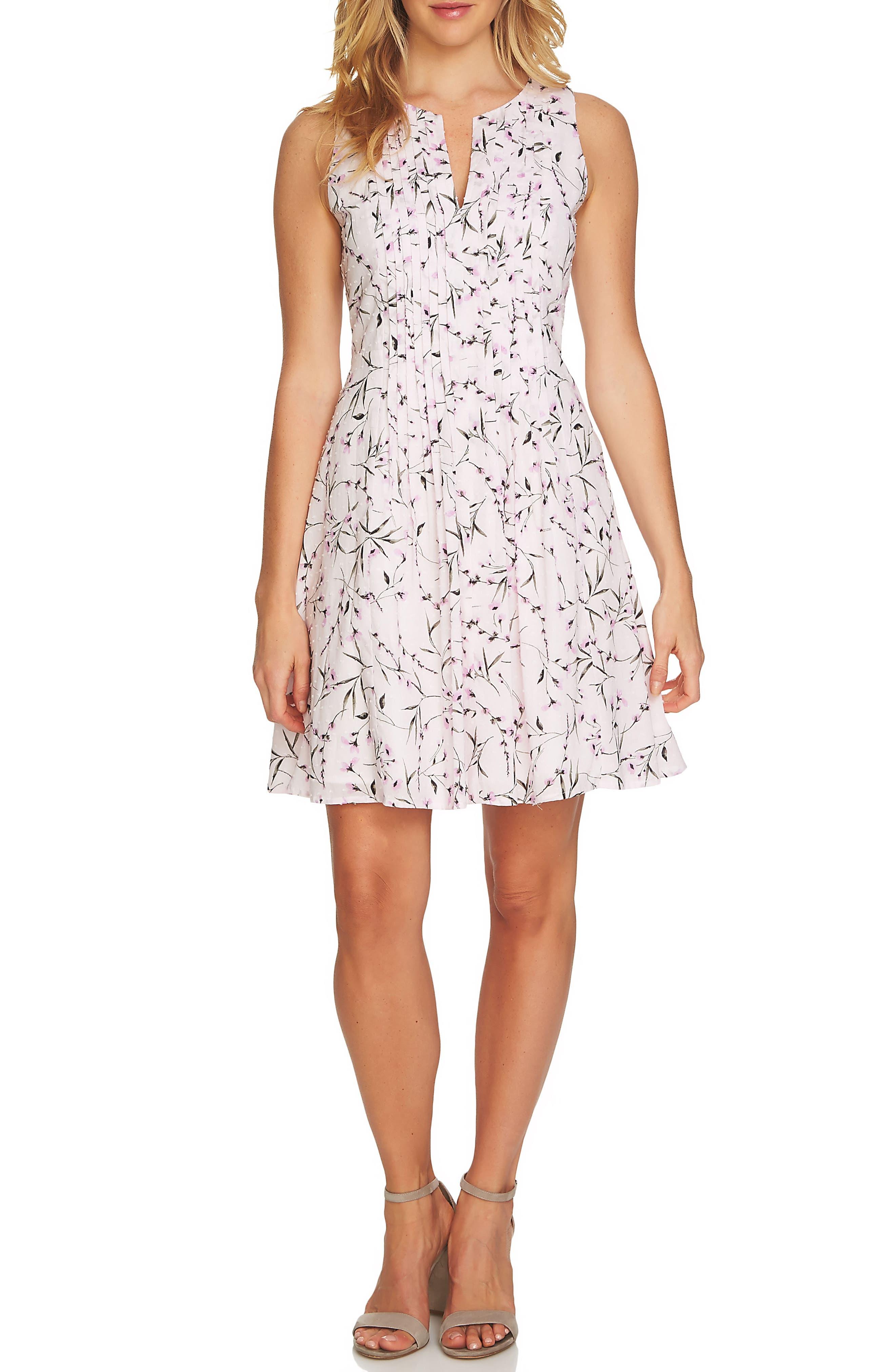CeCe Graceful Floral Pintuck Dress