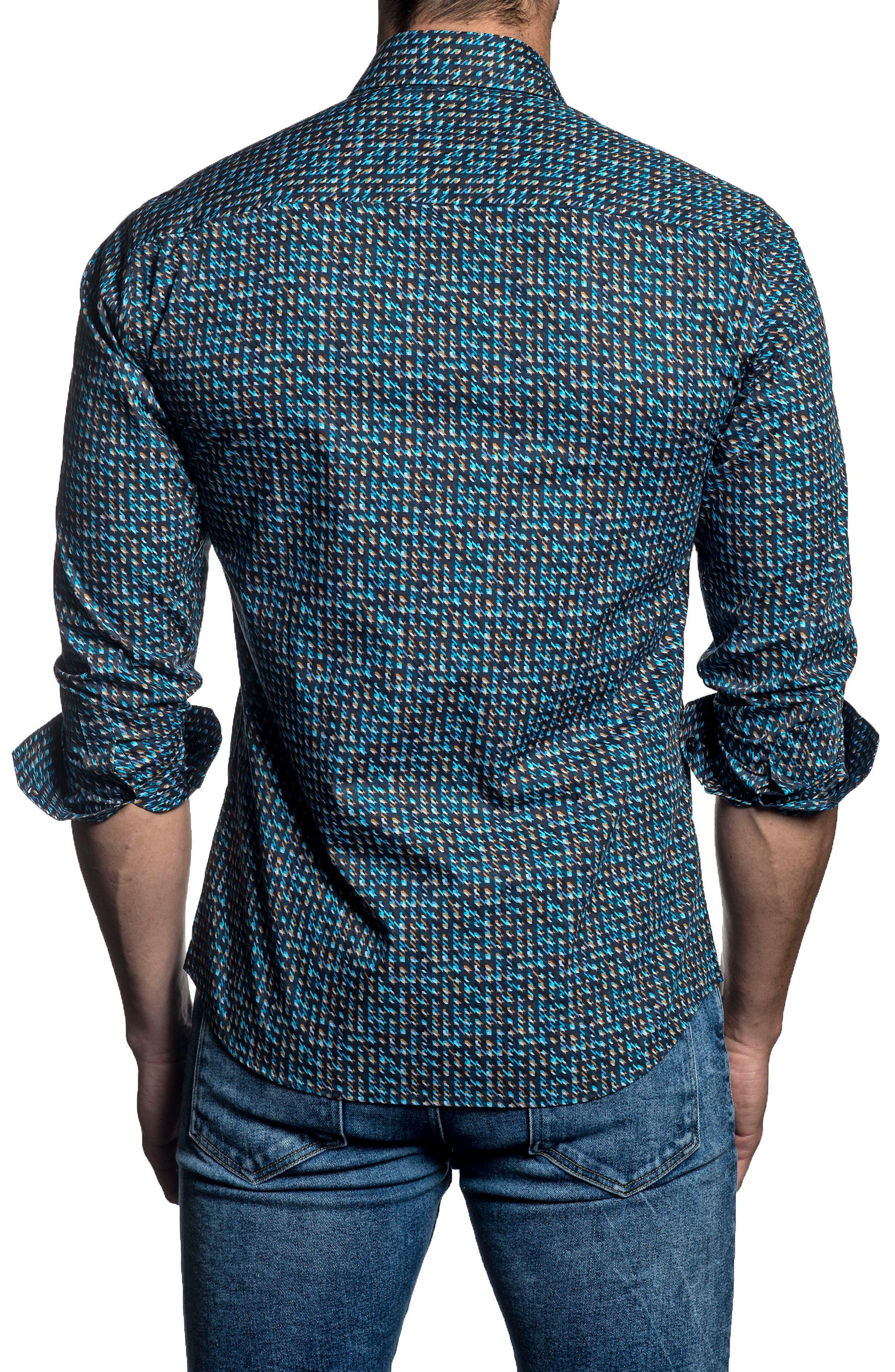 Trim Fit Sport Shirt,                             Alternate thumbnail 2, color,                             Navy/ Turquoise Print
