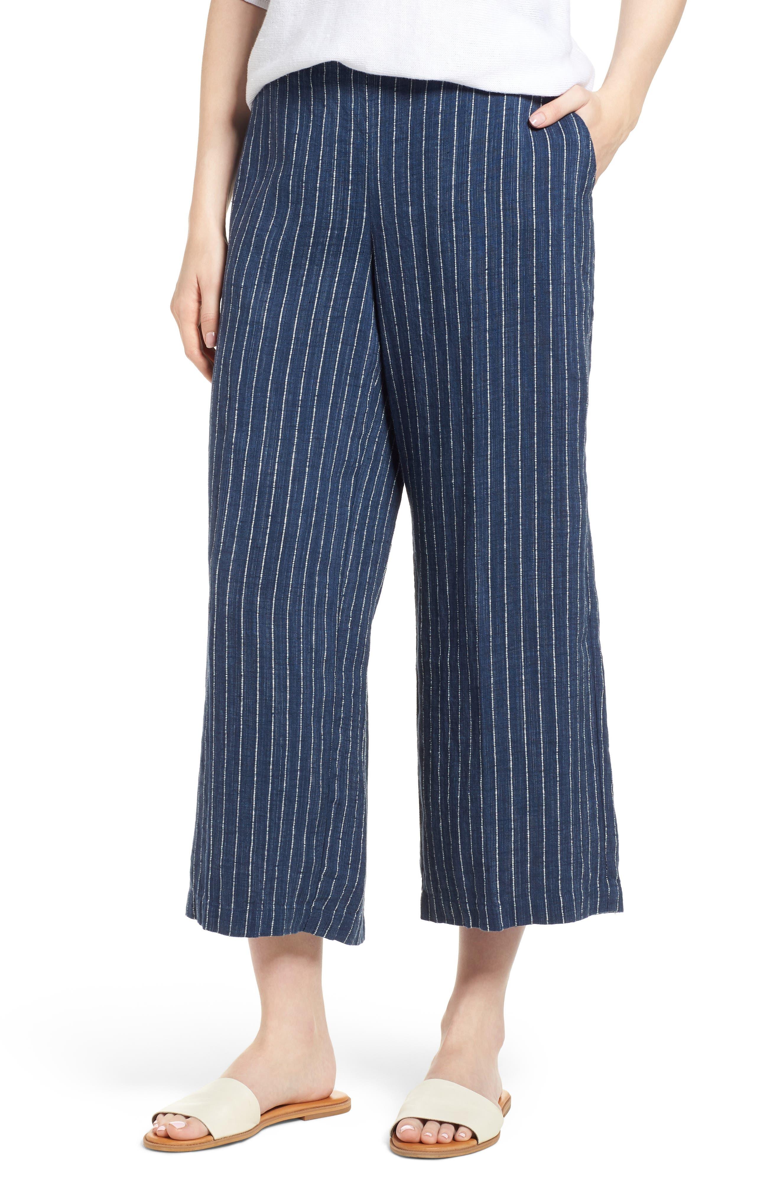 Stripe Linen Crop Pants,                             Main thumbnail 1, color,                             Denim