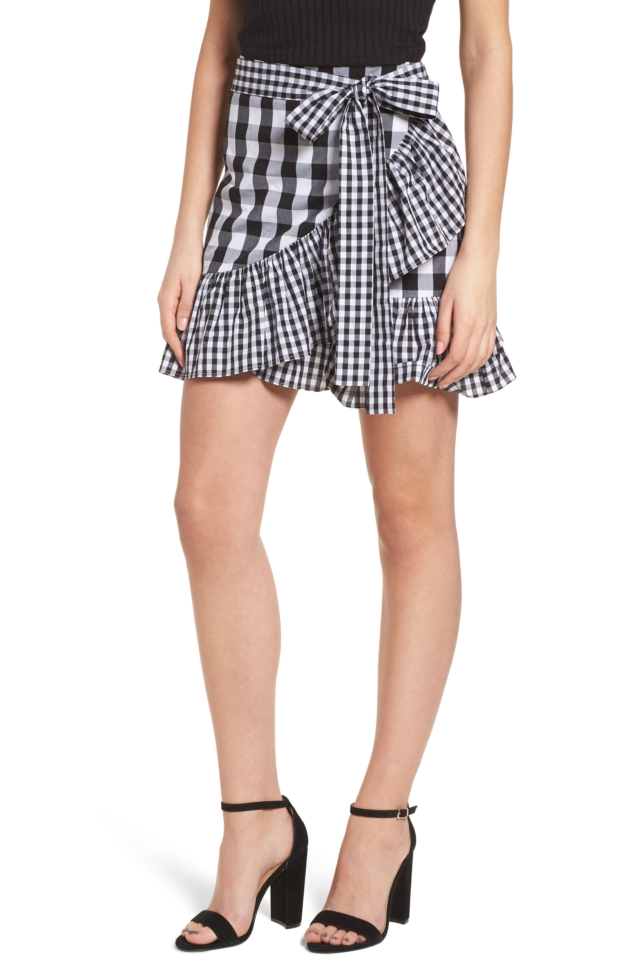Mixed Check Ruffle Trim Skirt,                         Main,                         color, Black Lexi Gingham