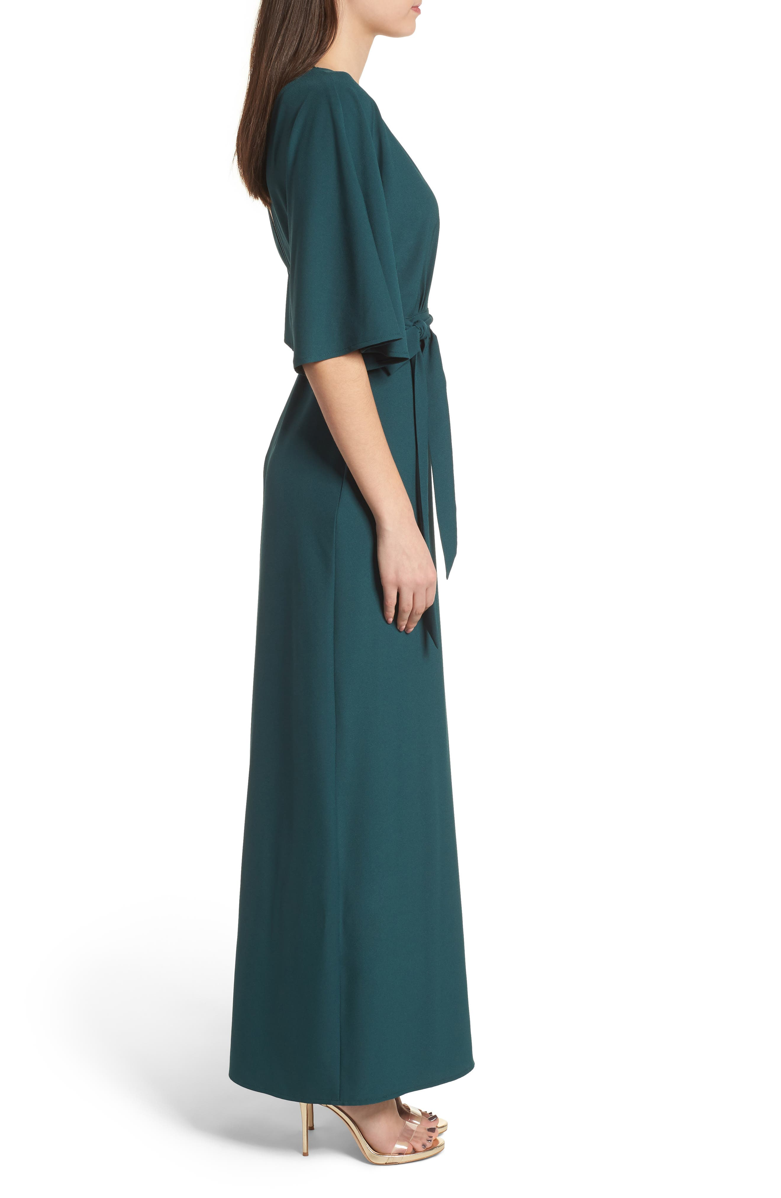 Kimono Maxi Dress,                             Alternate thumbnail 3, color,                             Green Bug