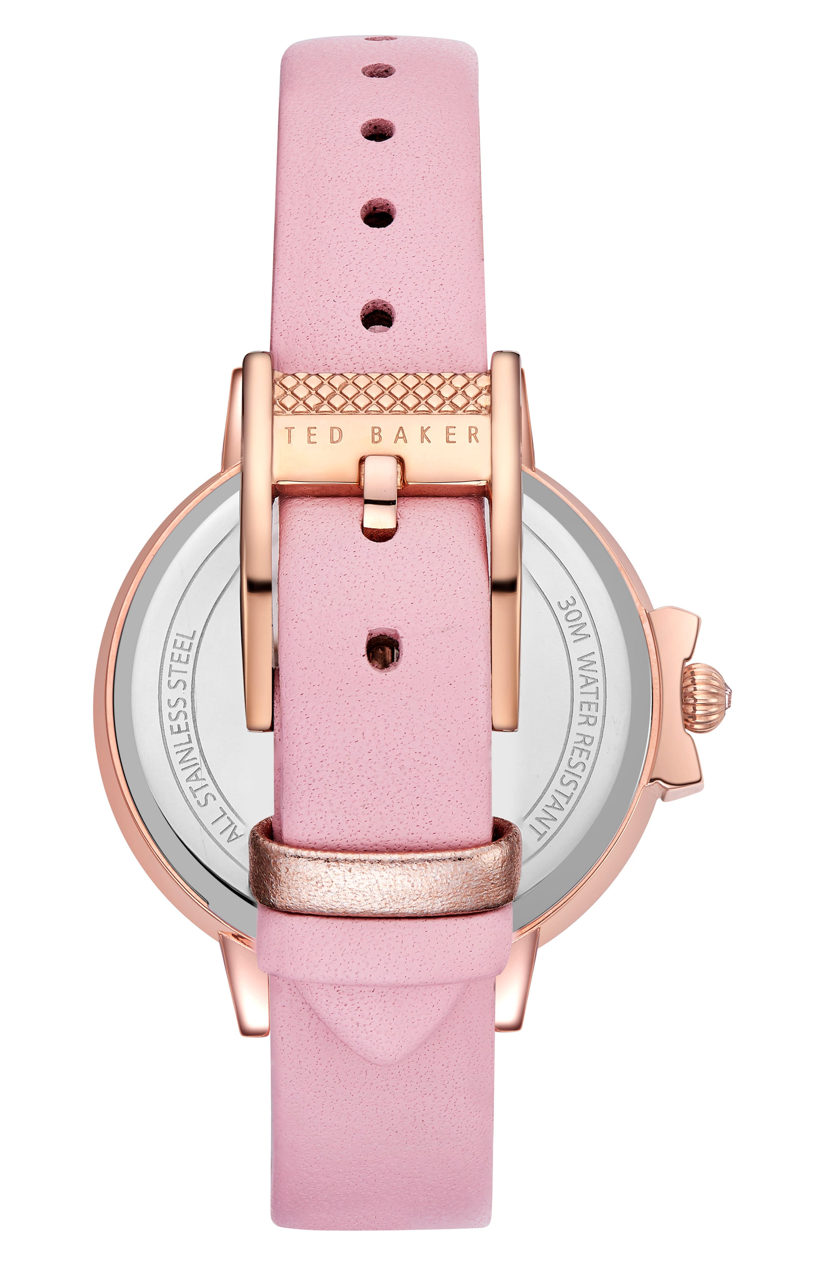 Leather Strap Watch, 36mm,                             Alternate thumbnail 2, color,                             Pink/ Rose Gold