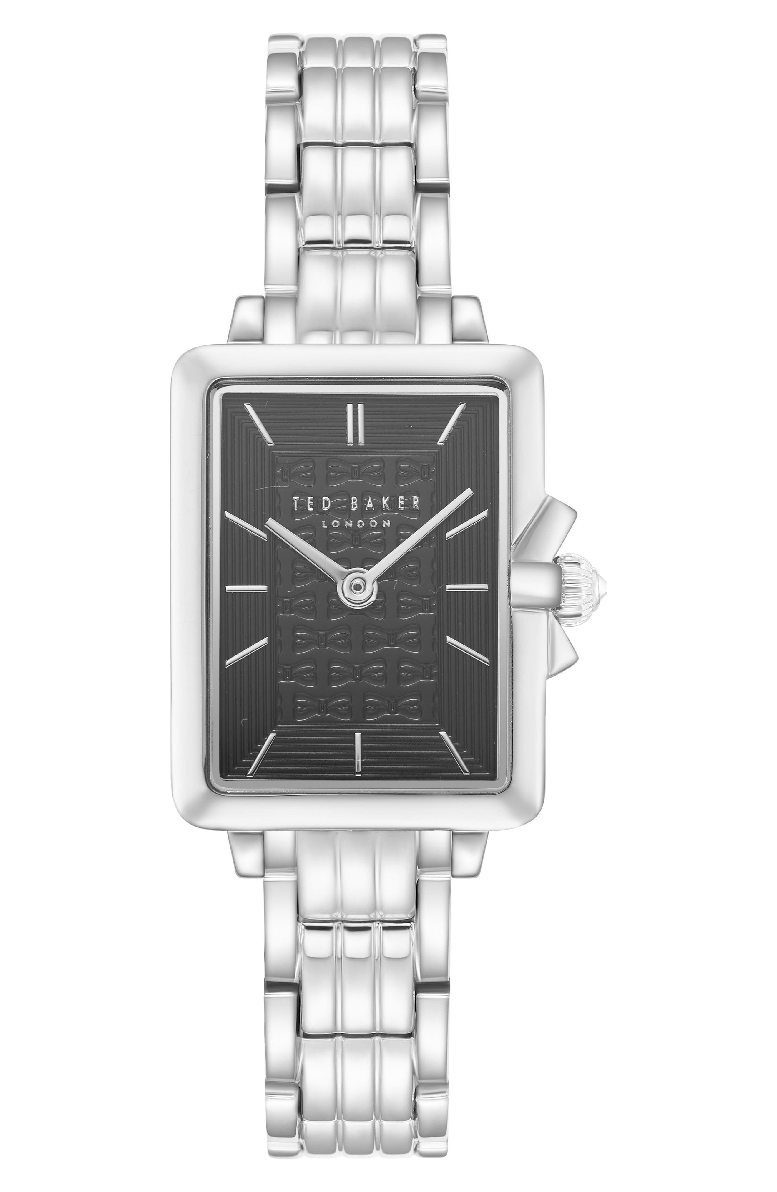 Tess Bracelet Watch, 20mm,                             Main thumbnail 1, color,                             Silver/ Black/ Silver