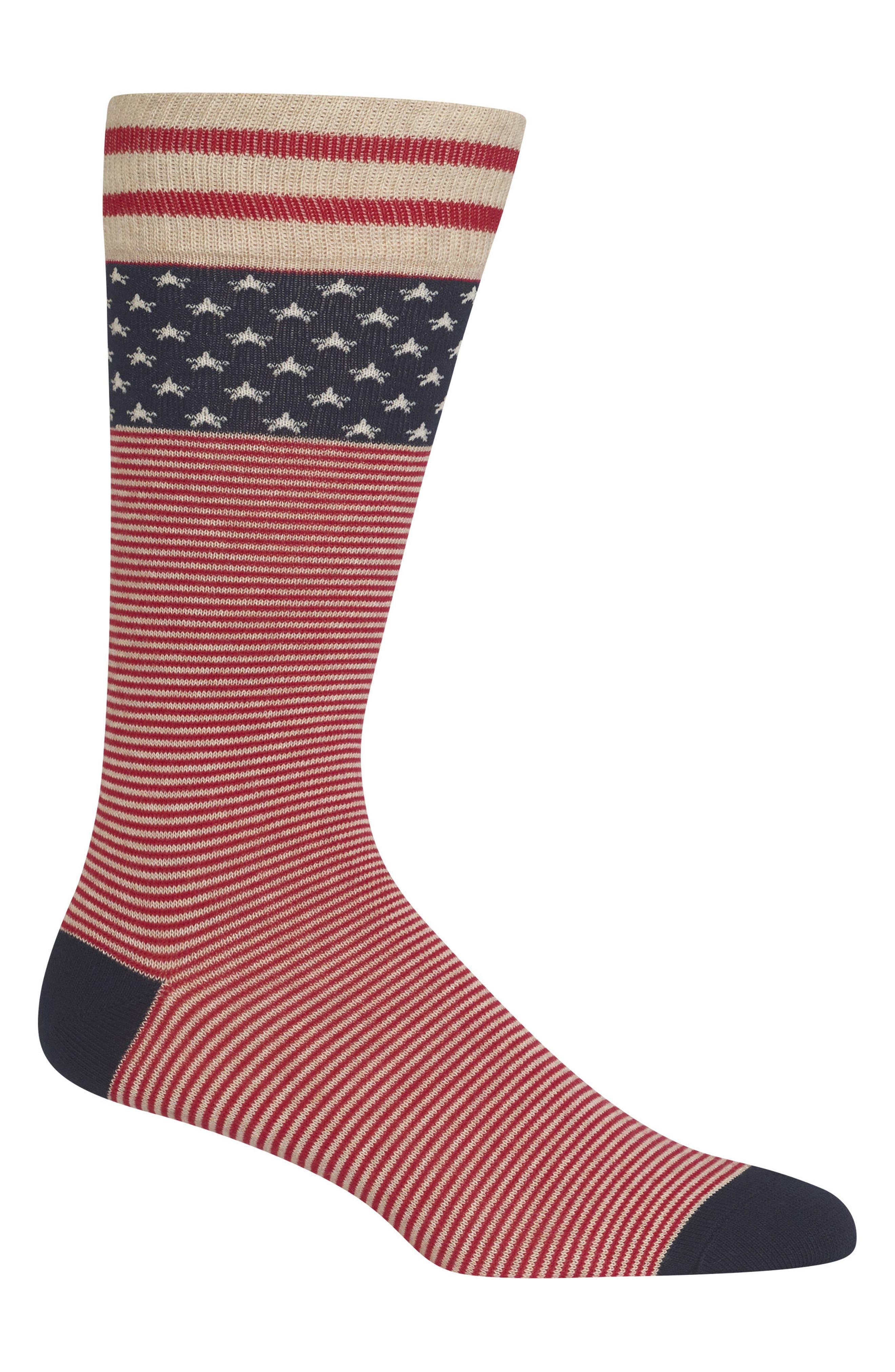Ralph Lauren American Flag Socks,                         Main,                         color, Oatmeal Heather/ Red/ Navy