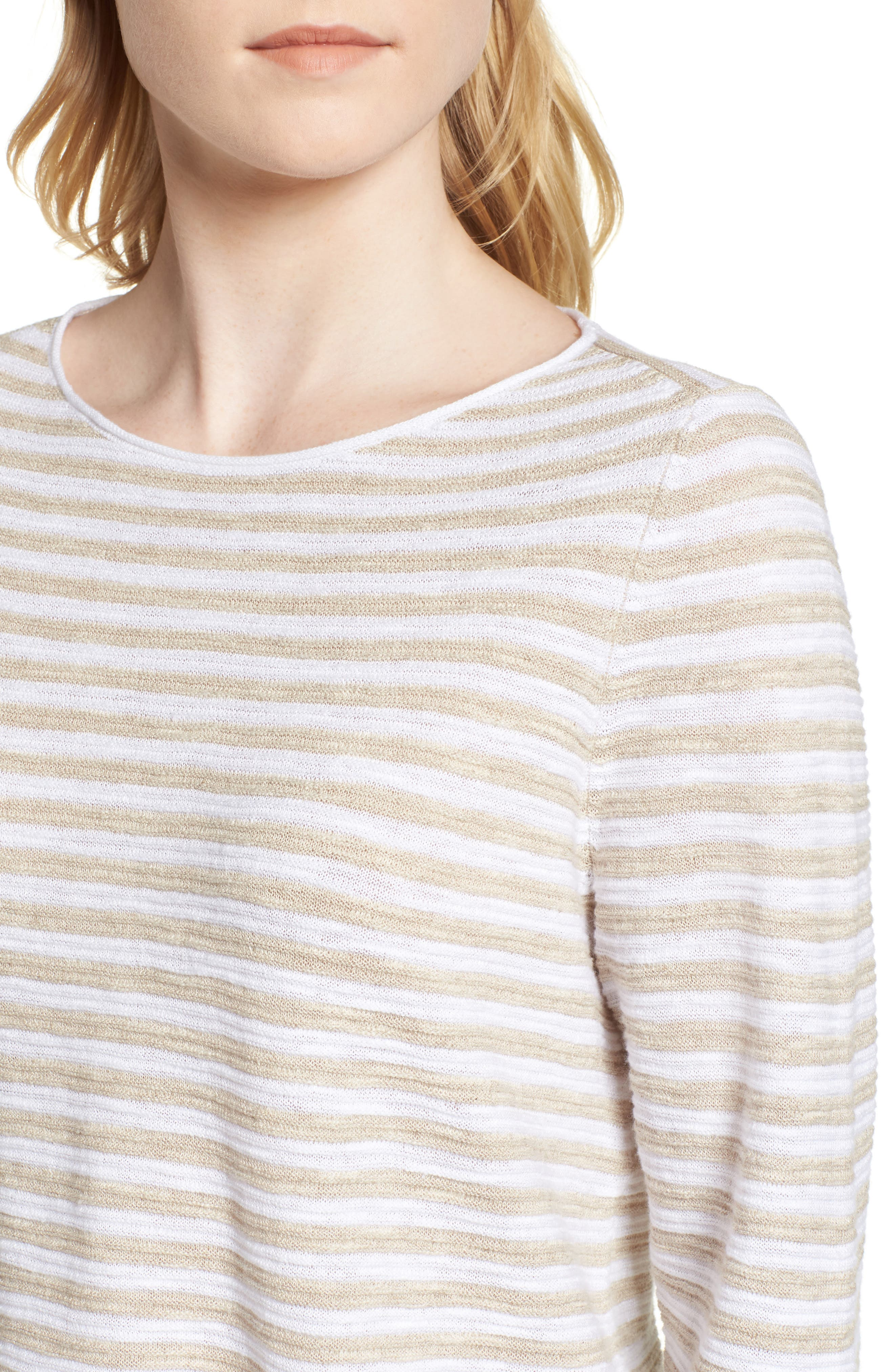Stripe Organic Linen & Cotton Sweater,                             Alternate thumbnail 4, color,                             White/ Natural