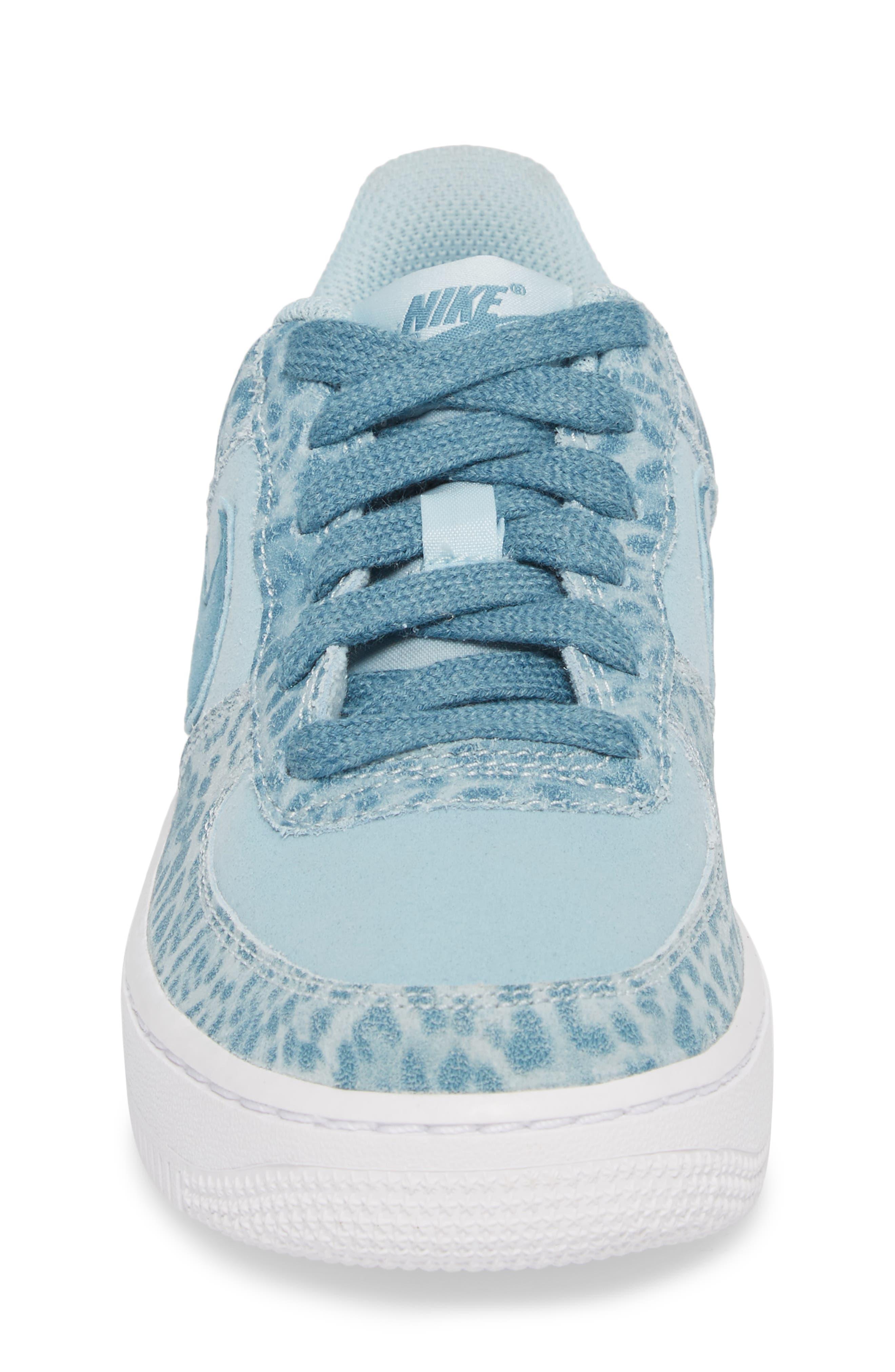 Air Force 1 LV8 Sneaker,                             Alternate thumbnail 4, color,                             Ocean Bliss/ Noise Aqua/ White