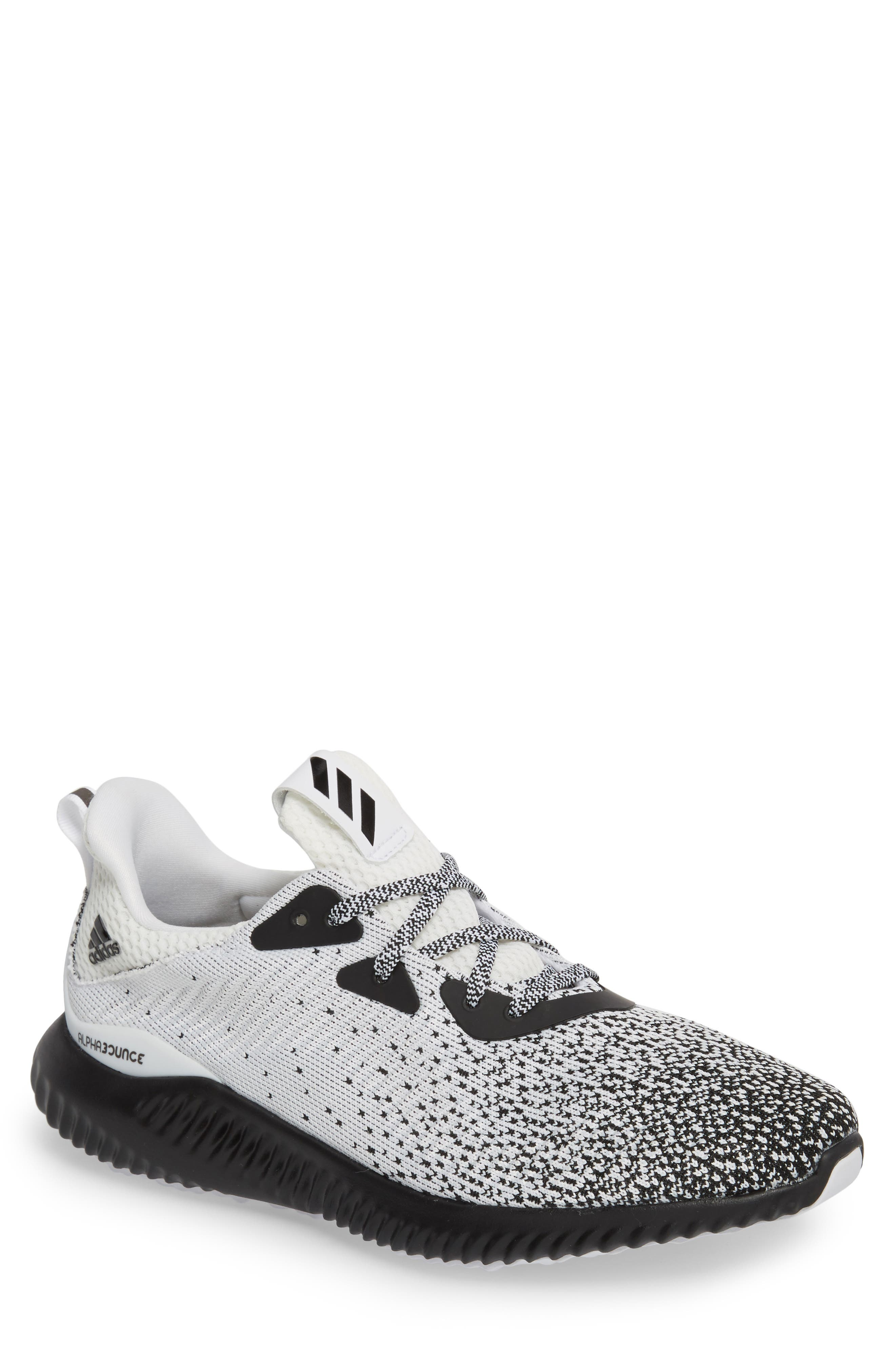 AlphaBounce CK Running Shoe,                             Main thumbnail 1, color,                             Core Black / White / Black