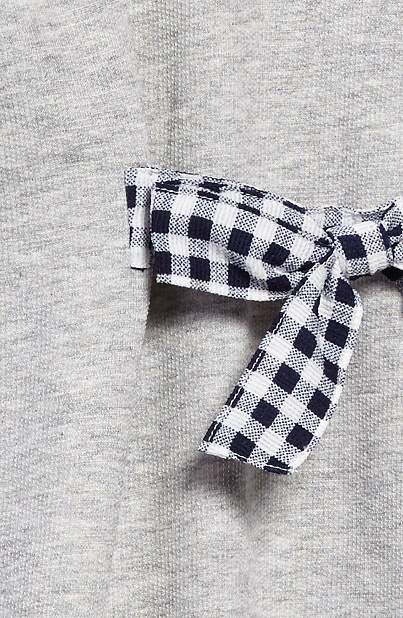 Tie Front Gingham Bow Dress,                             Alternate thumbnail 3, color,                             Heather Grey