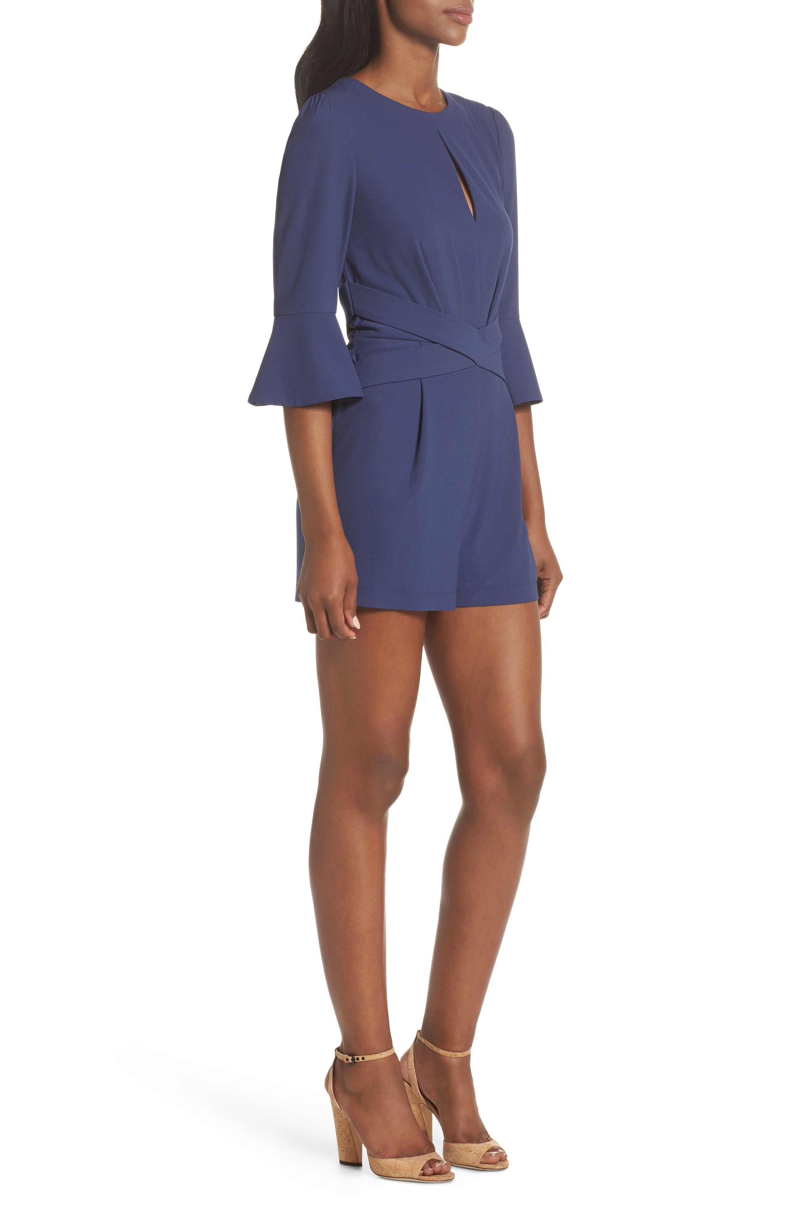 Meredith Bell Cuff Romper,                             Alternate thumbnail 3, color,                             Denim Blue