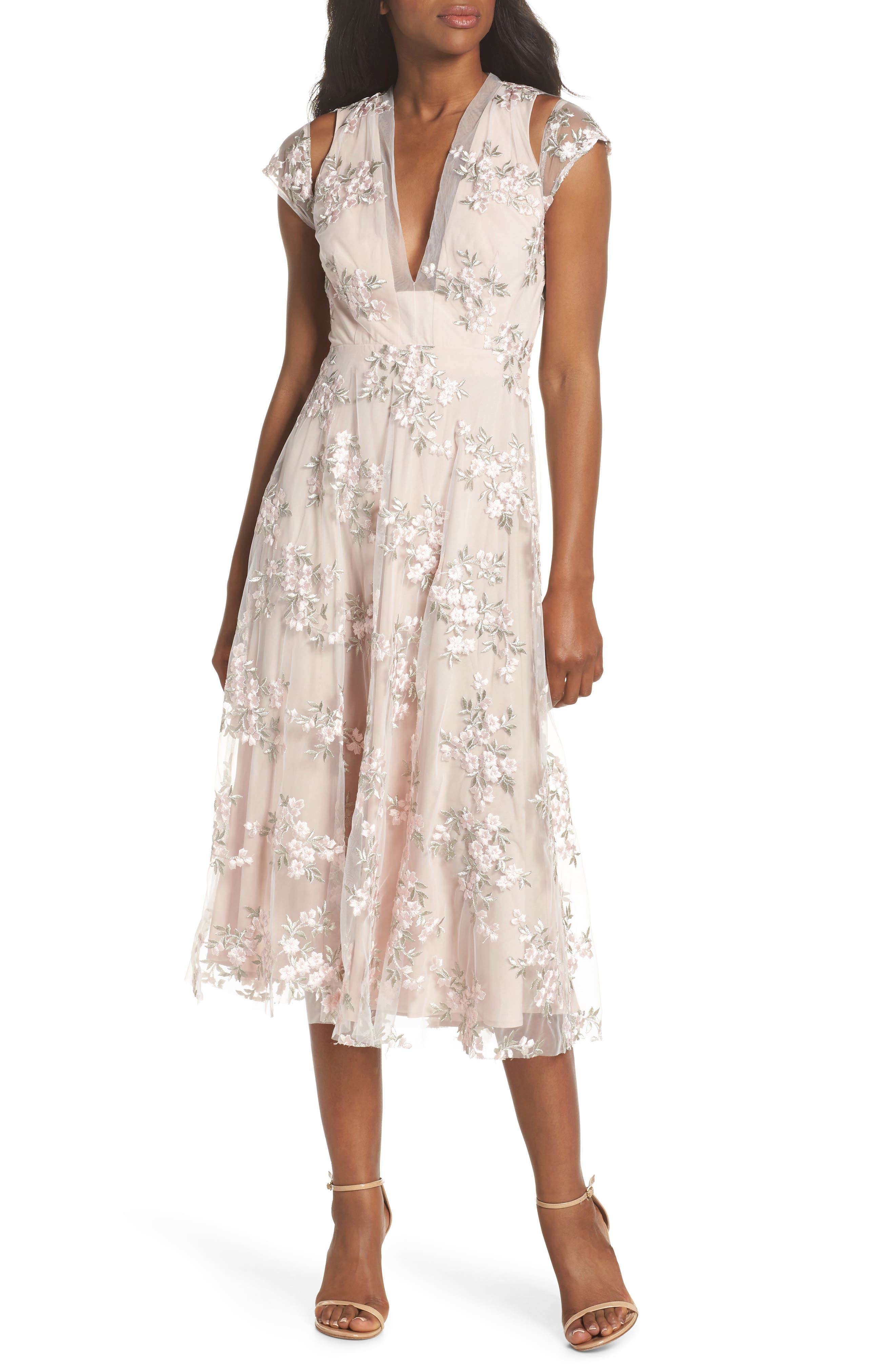 Rosalie Embroidered Midi Dress,                         Main,                         color, Ivory/ Pink