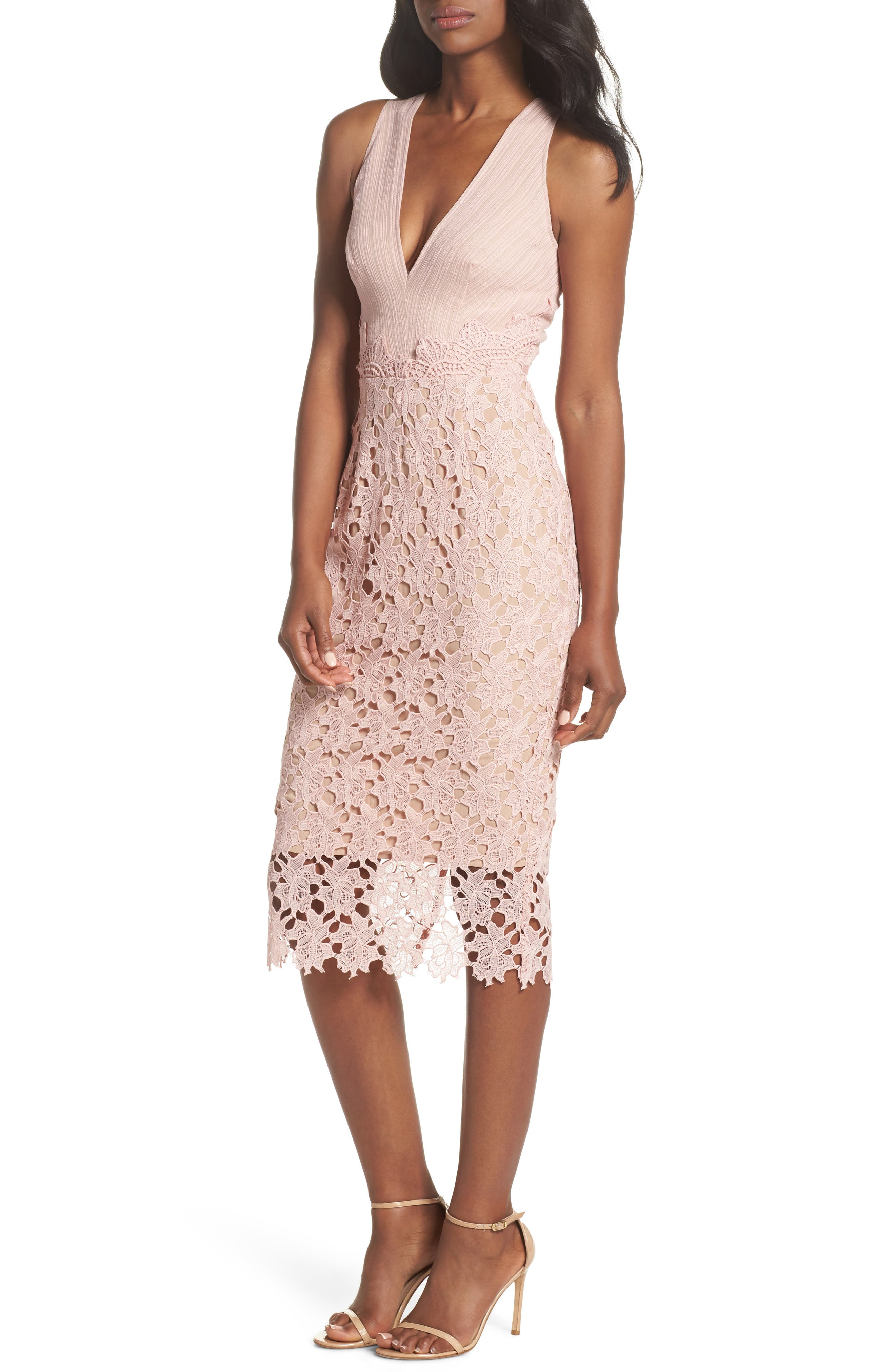 Jessie Lace Pencil Dress,                             Main thumbnail 1, color,                             Pink