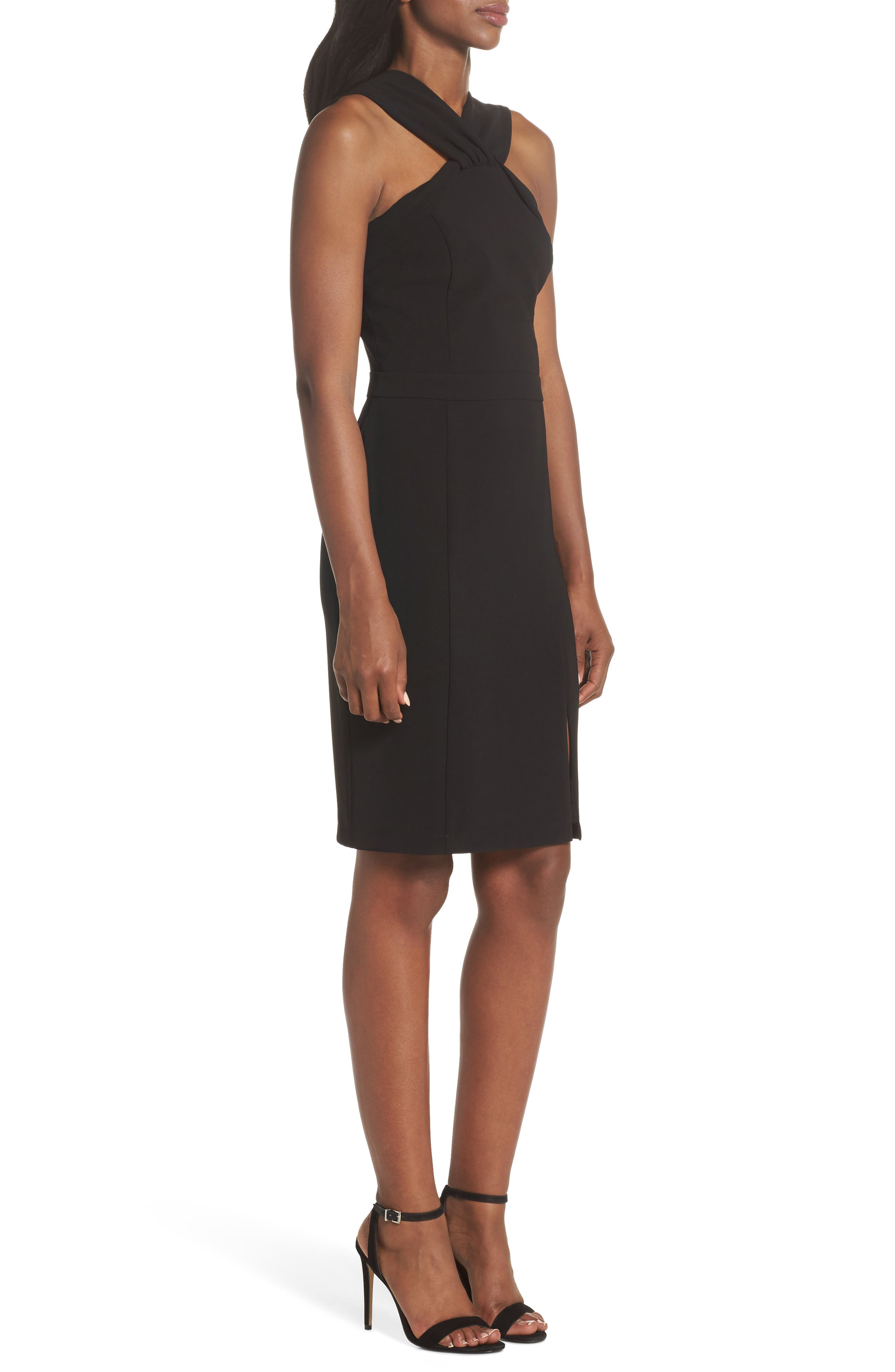 Wanda Sleeveless Sheath Dress,                             Alternate thumbnail 3, color,                             Black