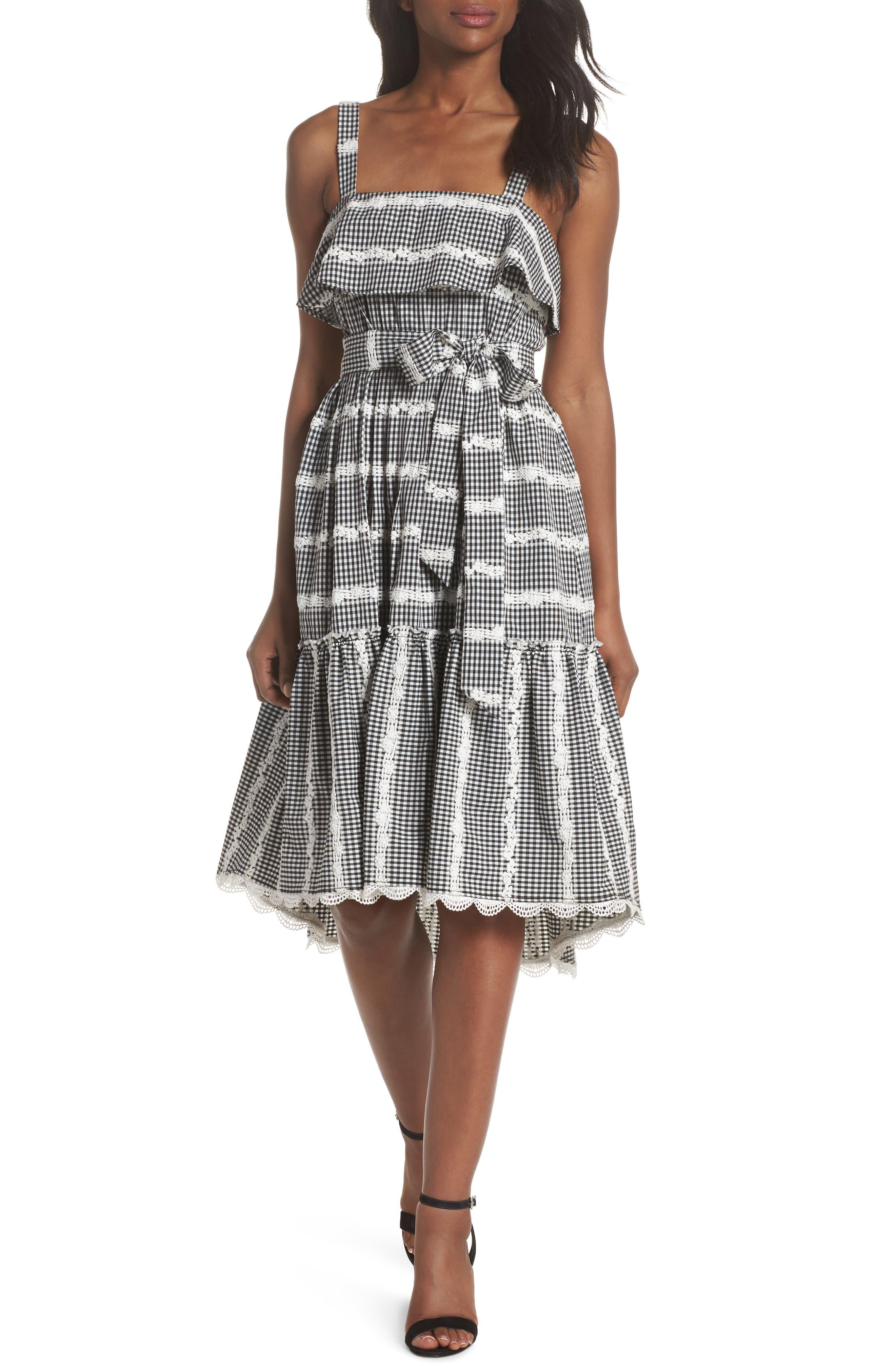 Belle Midi Dress,                             Main thumbnail 1, color,                             Black/ White