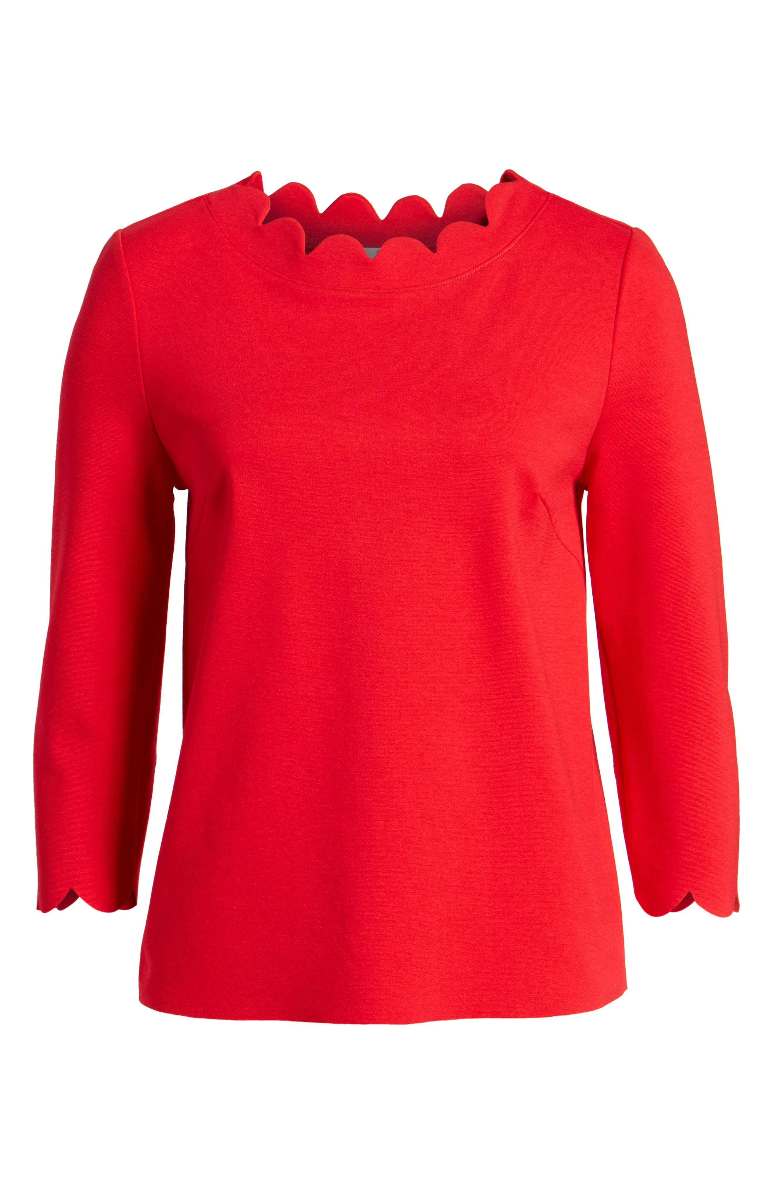 Ponte Scallop Top,                             Alternate thumbnail 7, color,                             Red