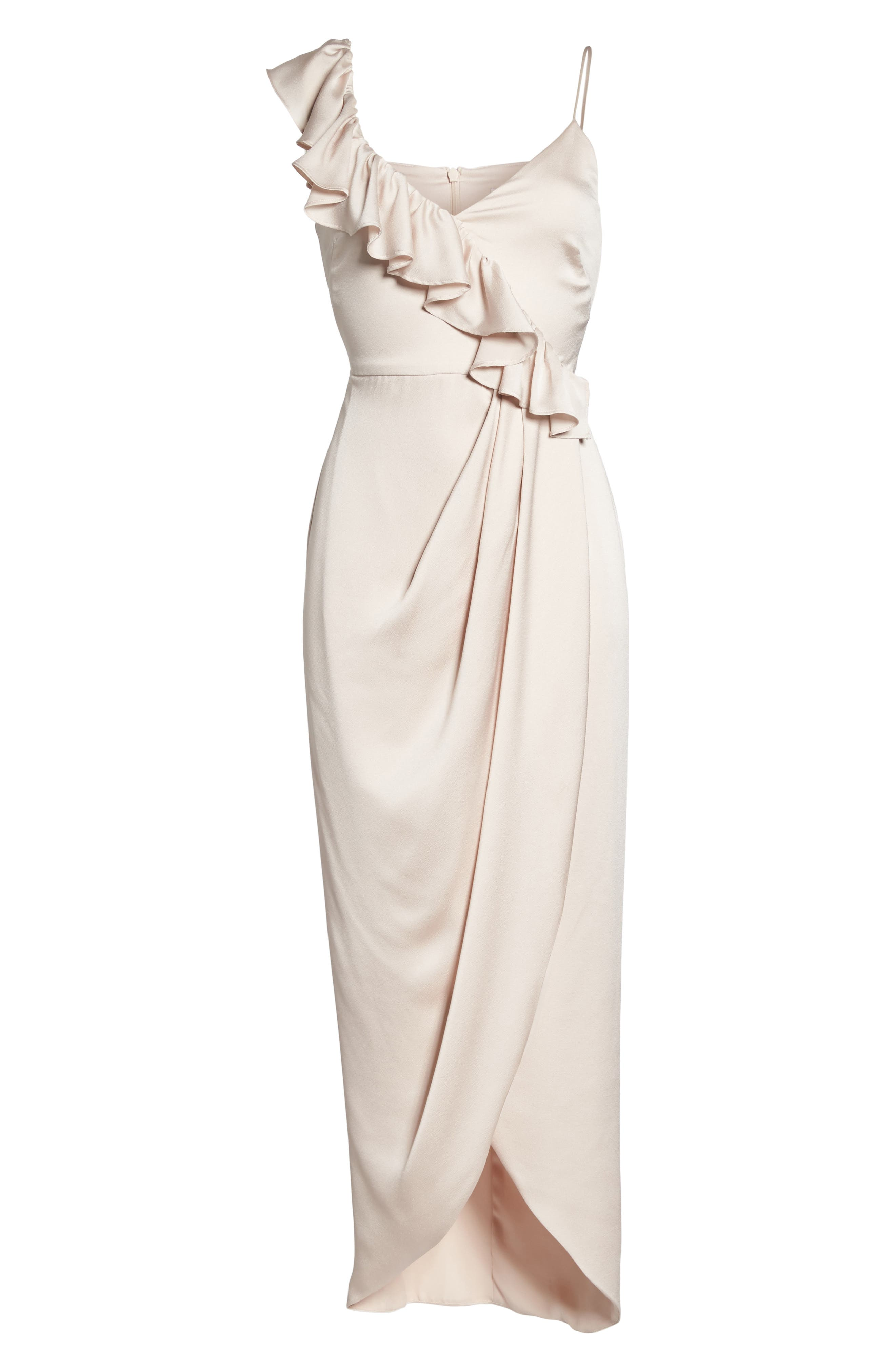 Luxe Asymmetrical Frill Maxi Dress,                             Alternate thumbnail 6, color,                             Porcelain