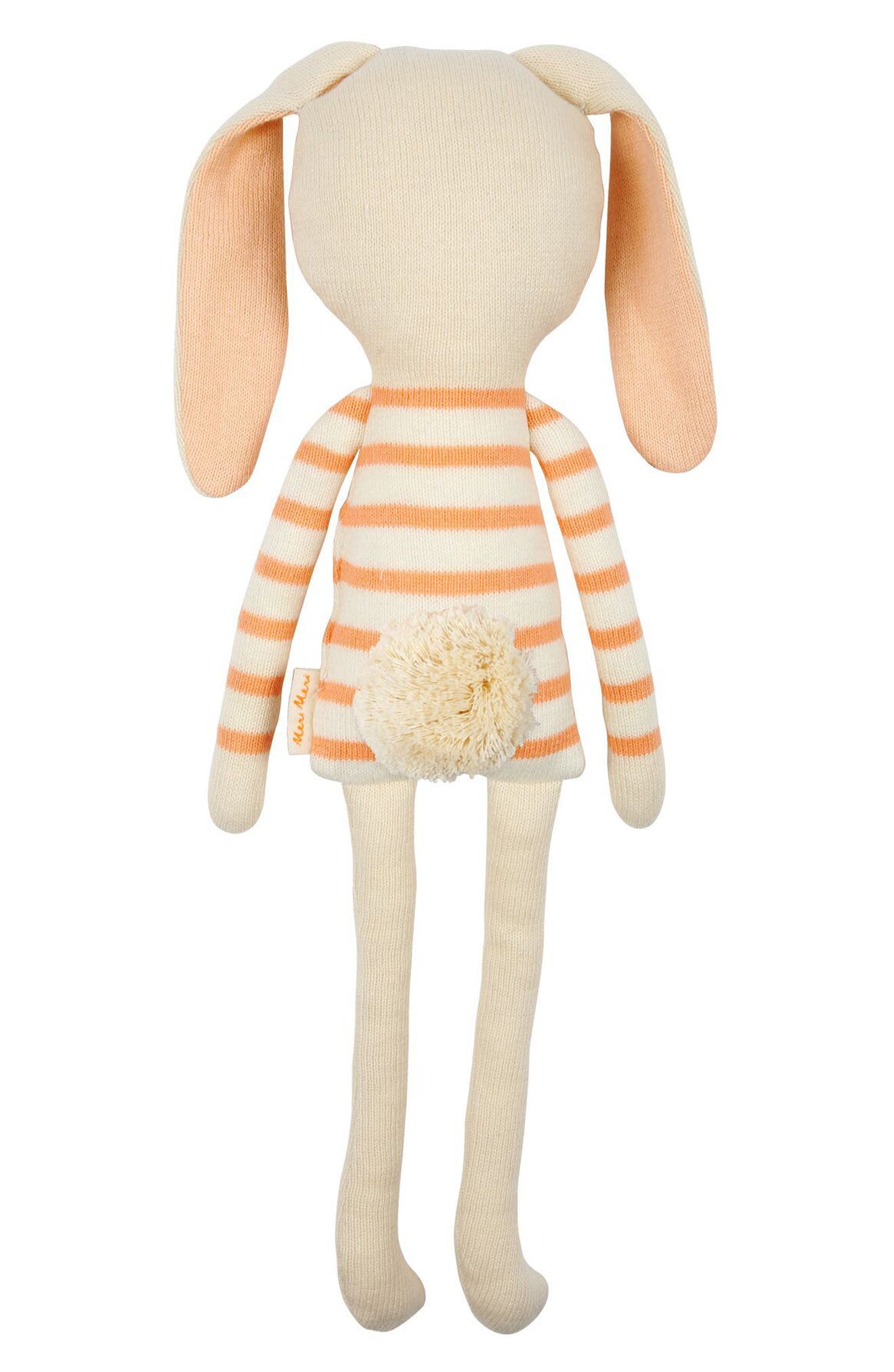 Small Stripe Sweater Organic Cotton Knit Bunny,                             Alternate thumbnail 2, color,                             Coral