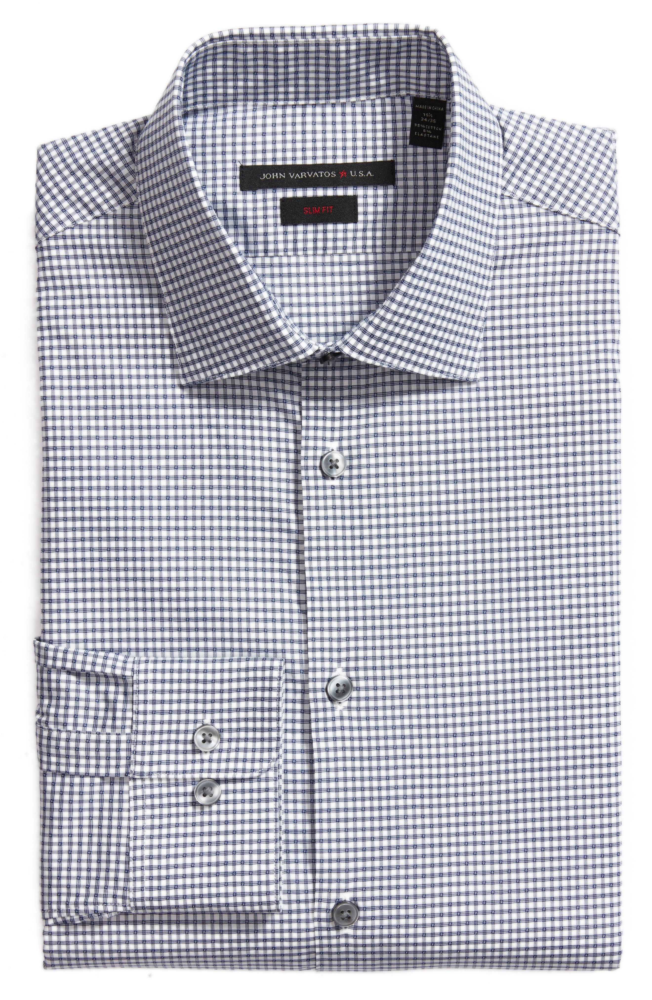 Slim Fit Stretch Check Dress Shirt,                             Alternate thumbnail 6, color,                             Indigo