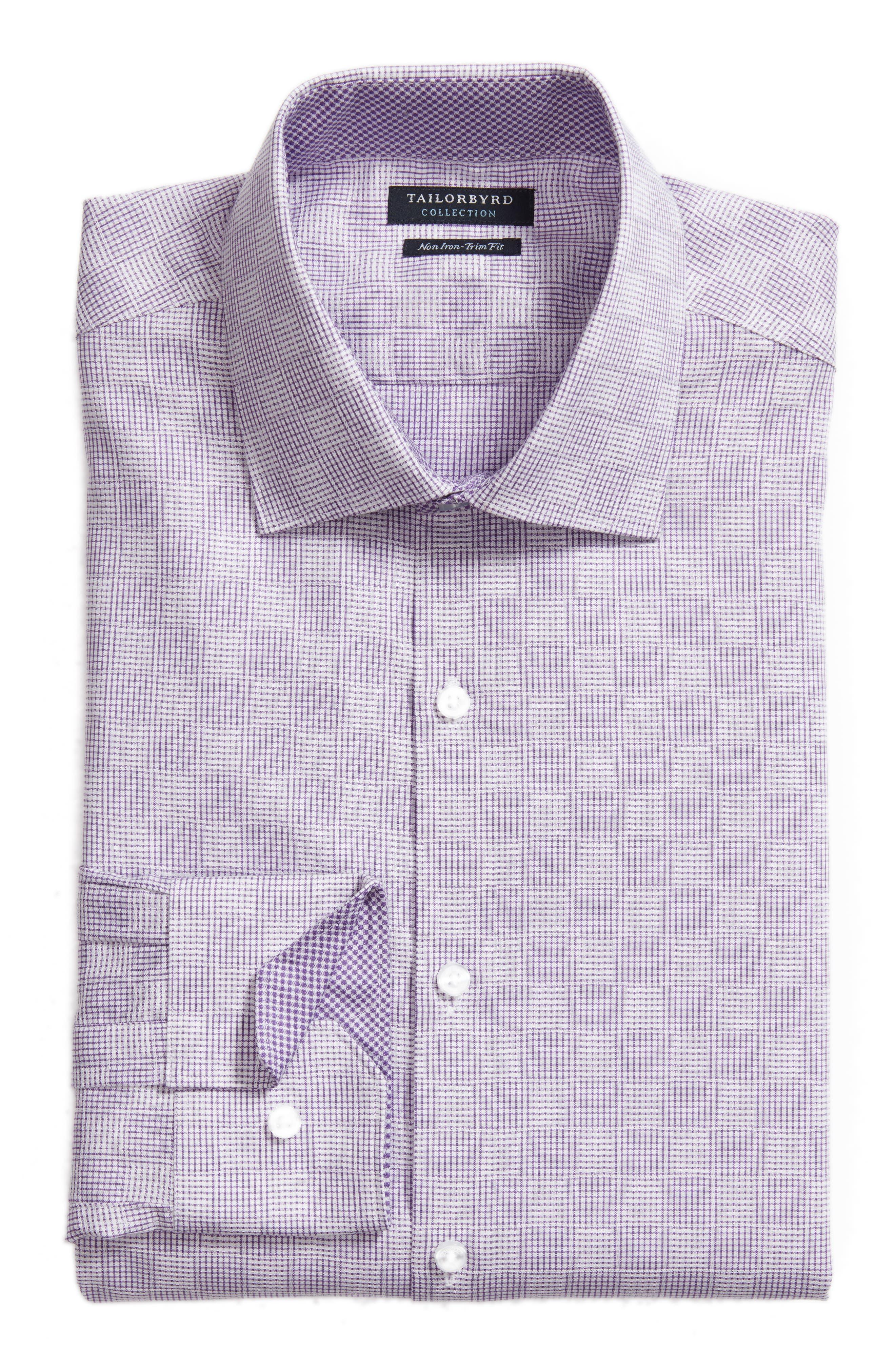 Haper Trim Fit Plaid Dress Shirt,                             Alternate thumbnail 6, color,                             Purple