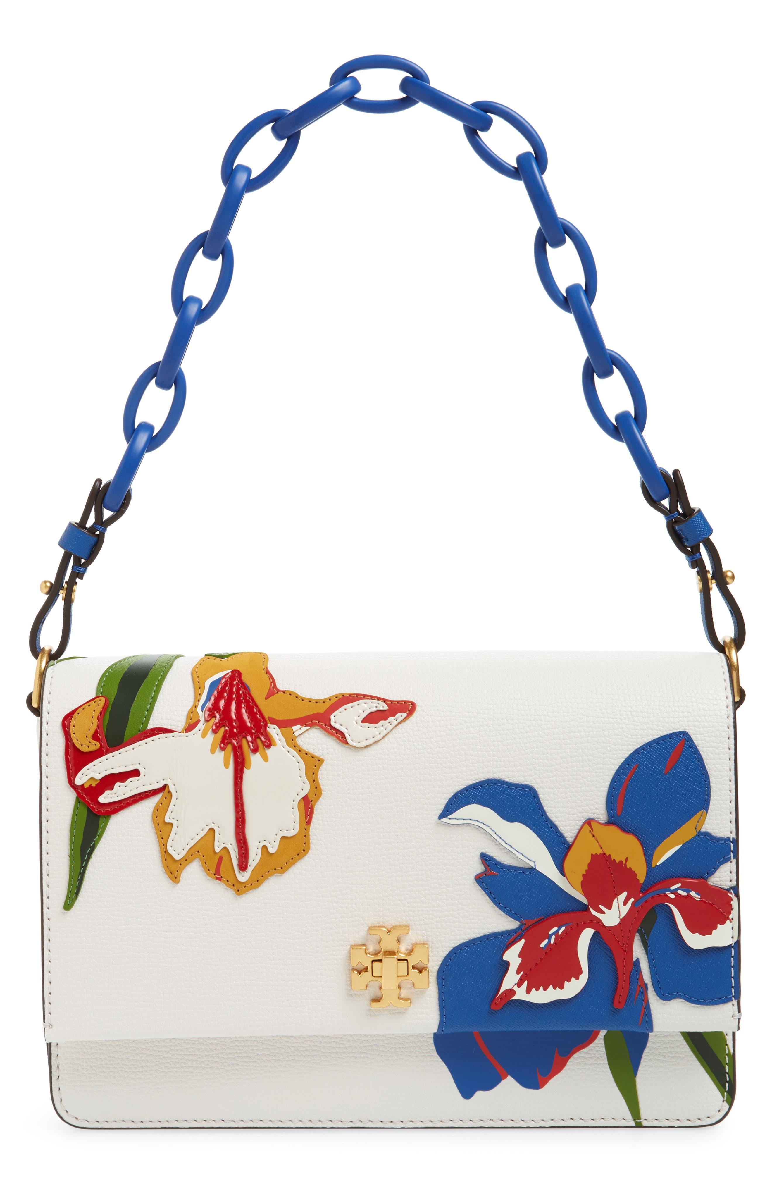 Kira Appliqué Flower Leather Shoulder Bag,                             Main thumbnail 1, color,                             Painted Iris