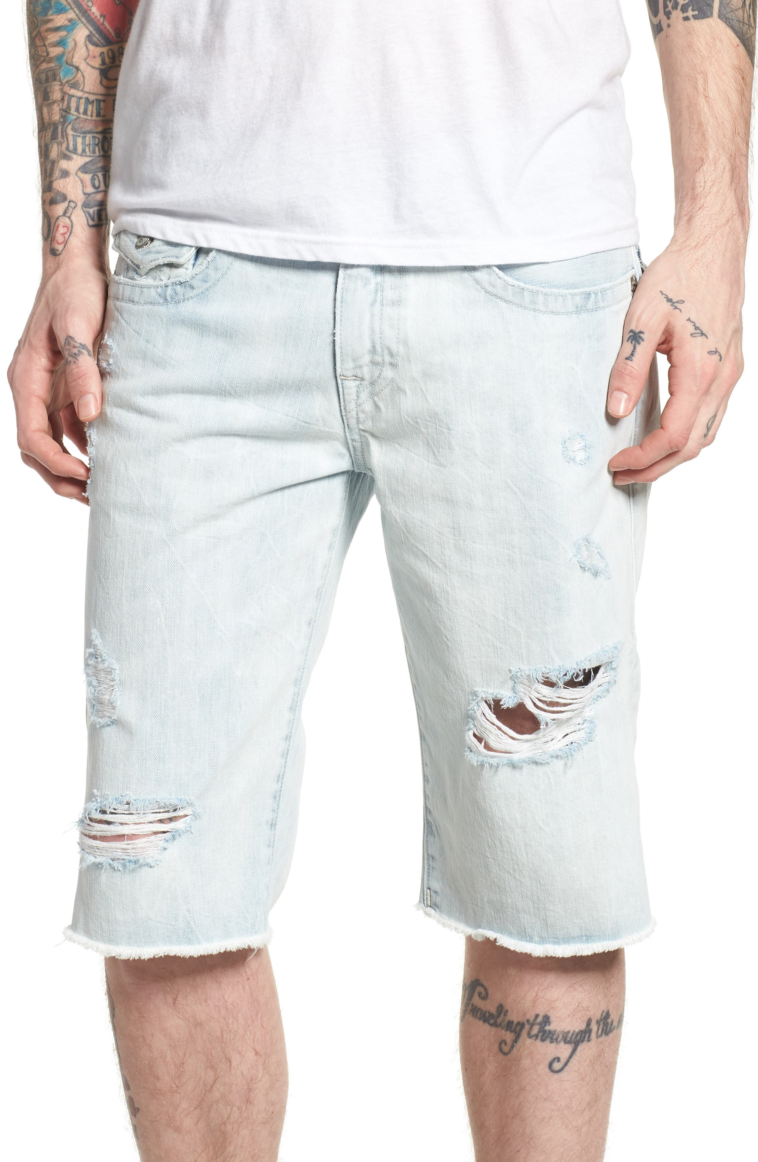 True Religion Brand Jeans Ricky Relaxed Fit Shorts (Torn Optic)