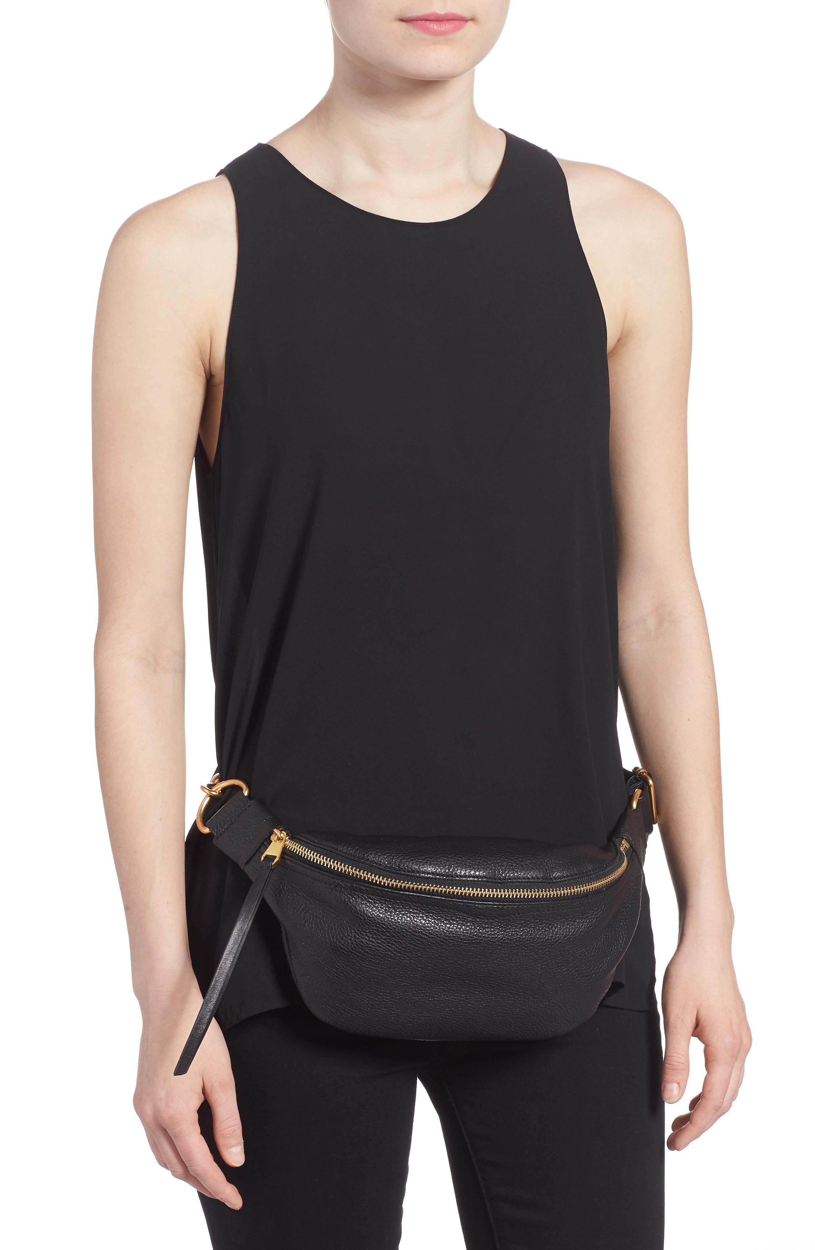 Bree Leather Belt Bag,                             Alternate thumbnail 3, color,                             Black