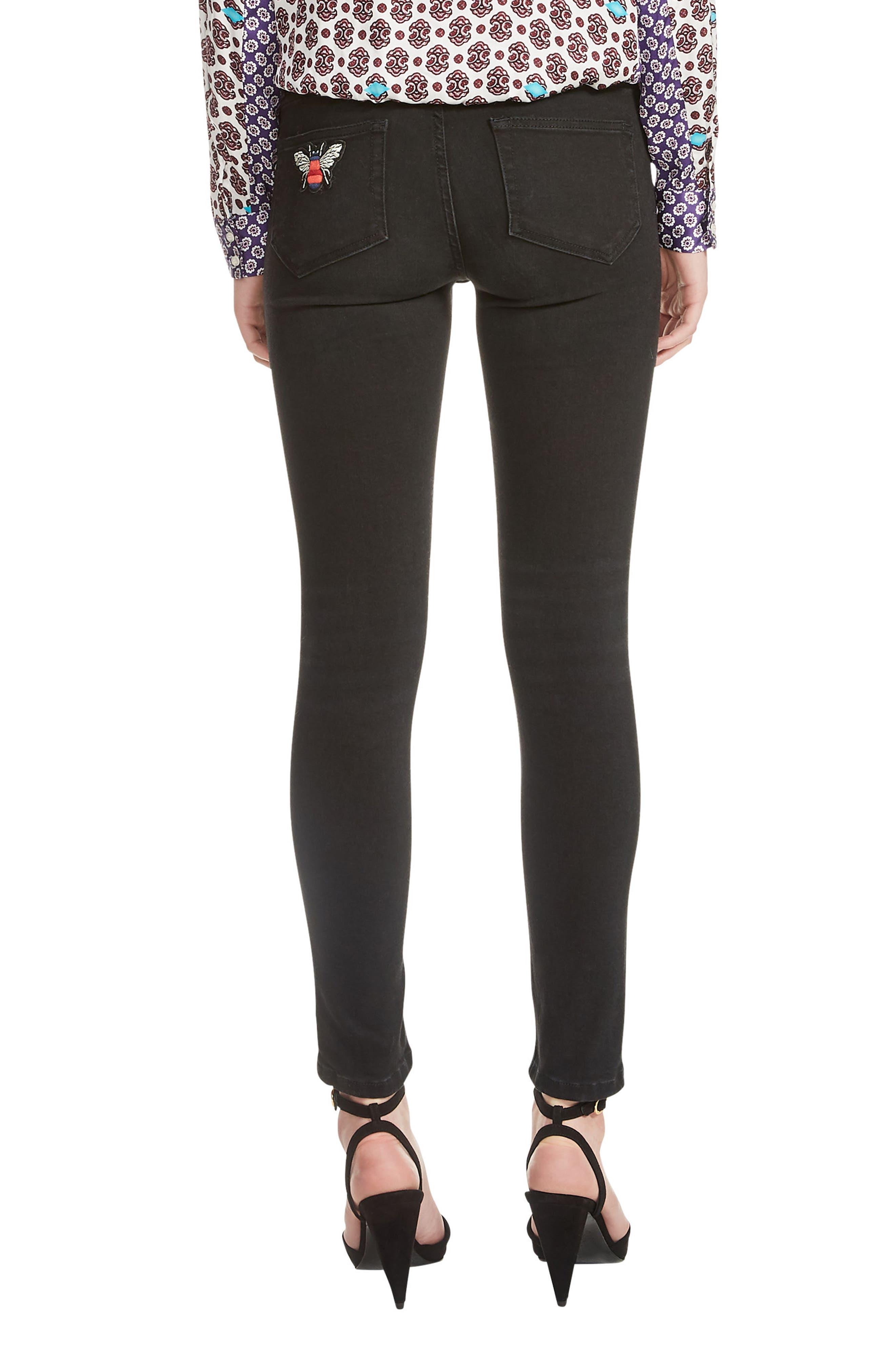 Priska Ripped Bee Embroidery Black Skinny Jeans,                             Alternate thumbnail 2, color,                             Black