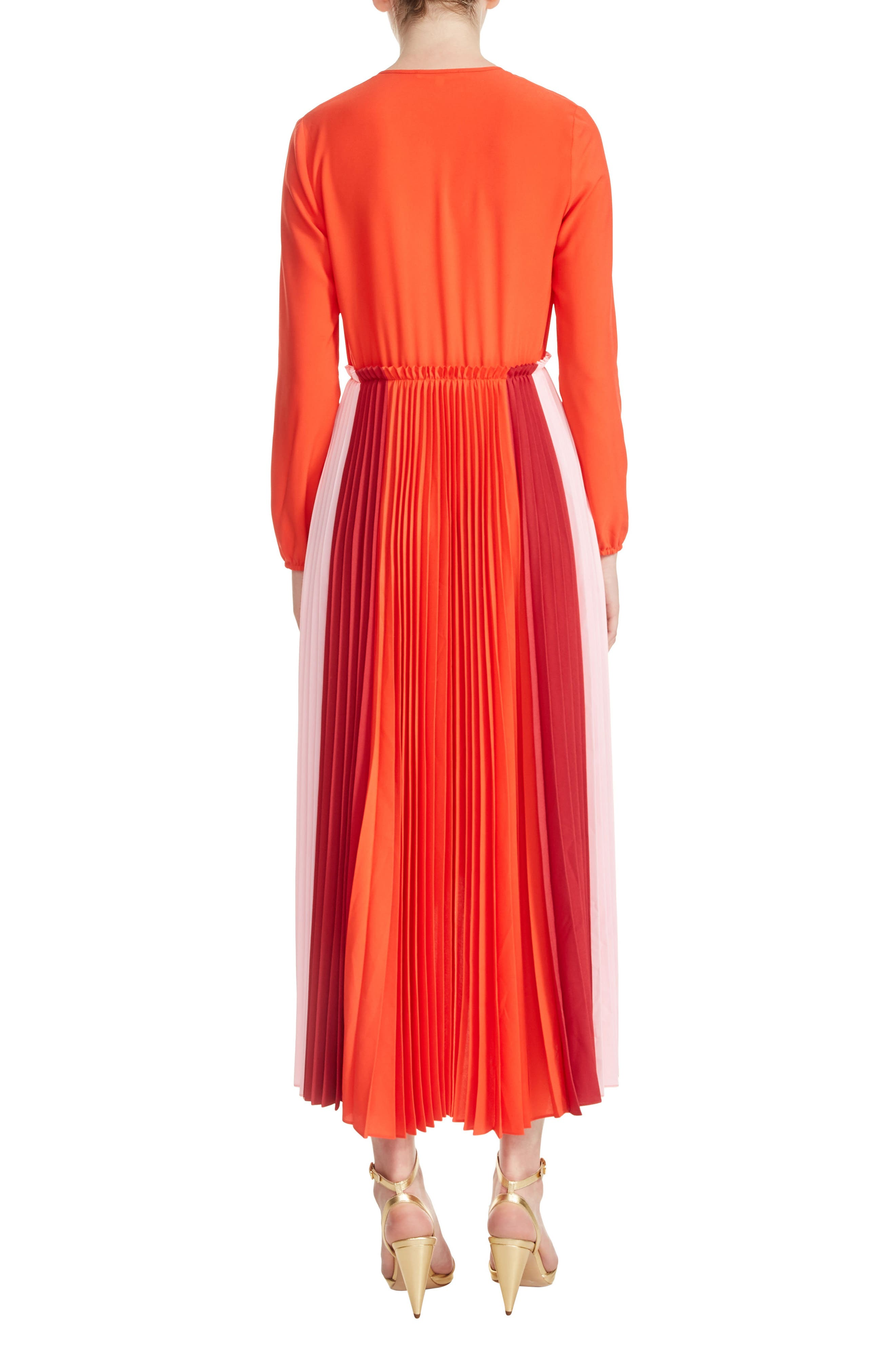 Reona High/Low Pleated Dress,                             Alternate thumbnail 2, color,                             Multicolor