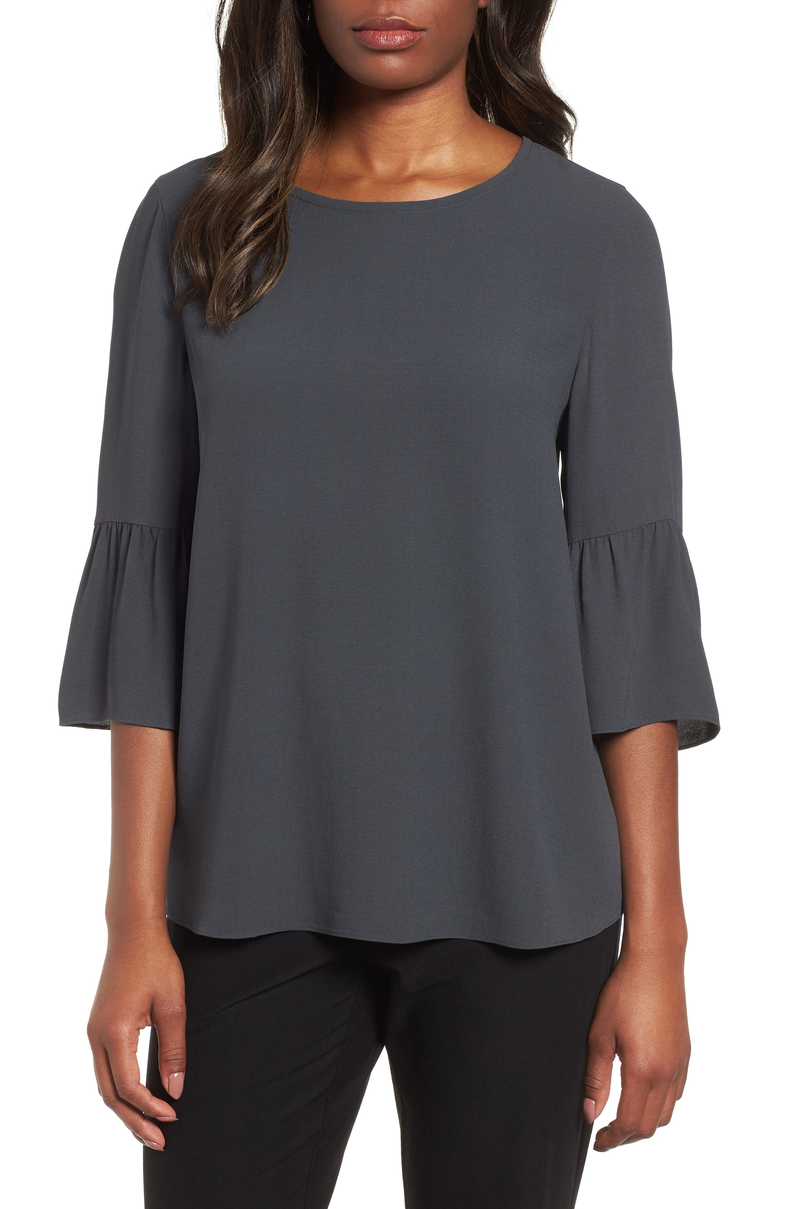 Ruffled Sleeve Silk Top,                             Main thumbnail 1, color,                             Graphite