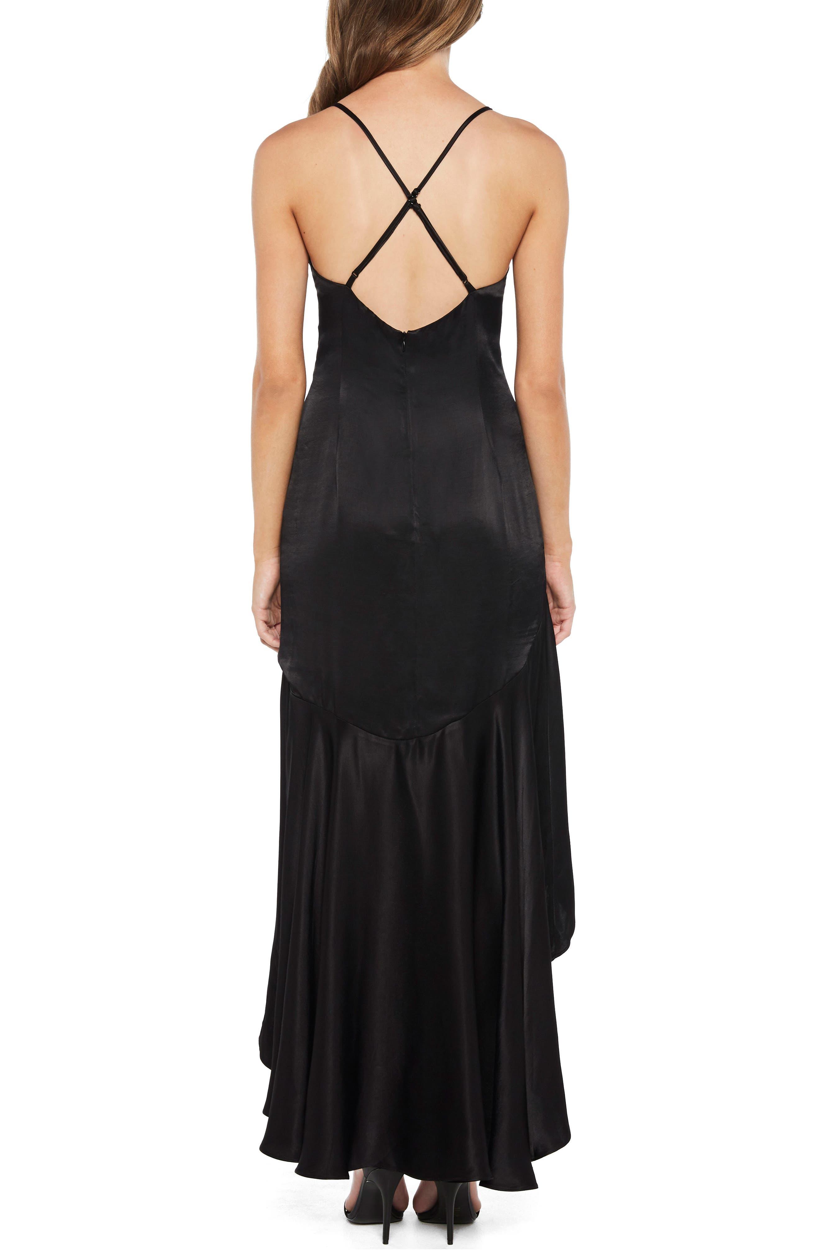 Arella Satin Gown,                             Alternate thumbnail 2, color,                             Black