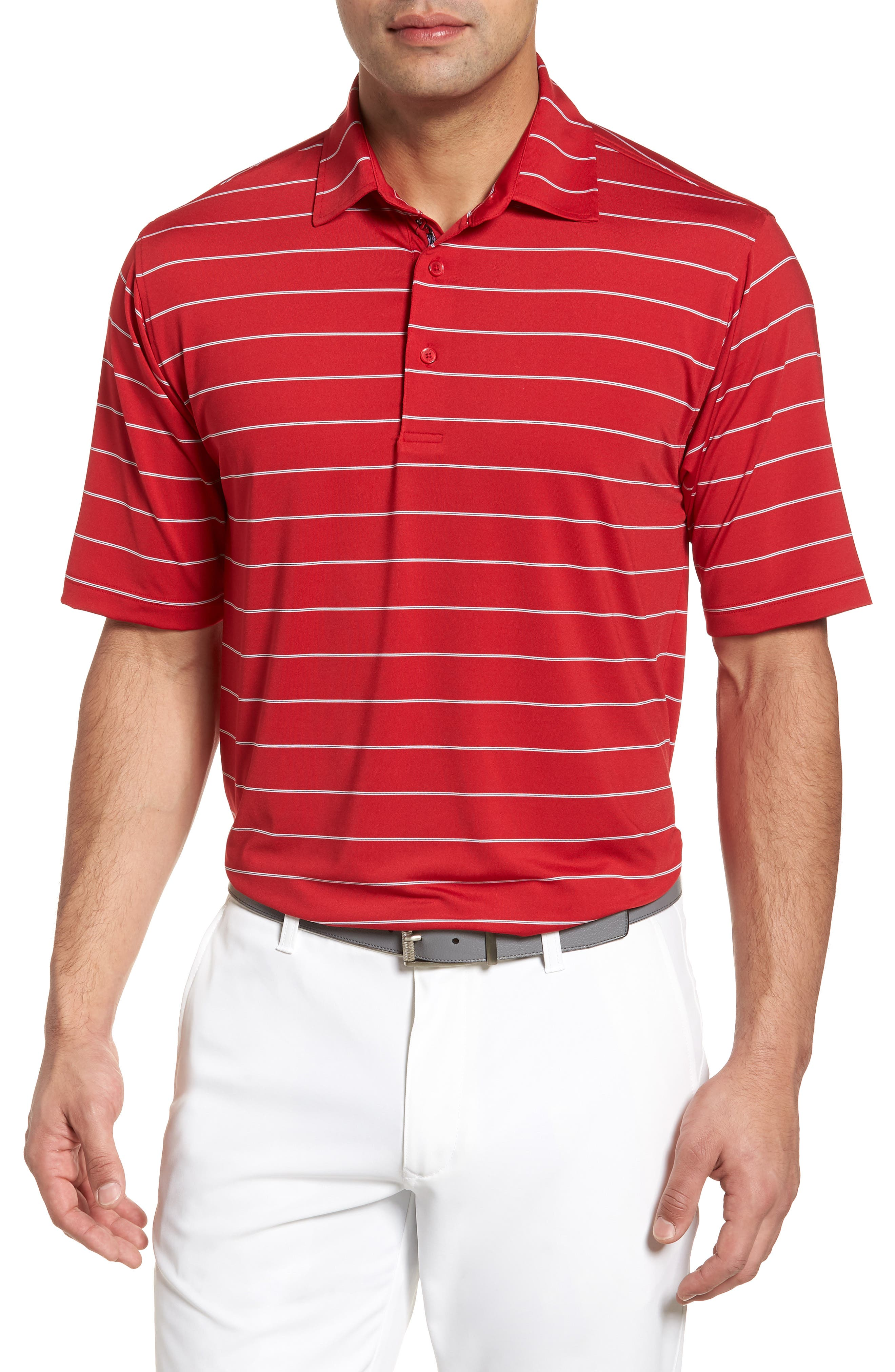 XH2O Momentum Stripe Jersey Polo,                             Main thumbnail 1, color,                             Cambridge Red