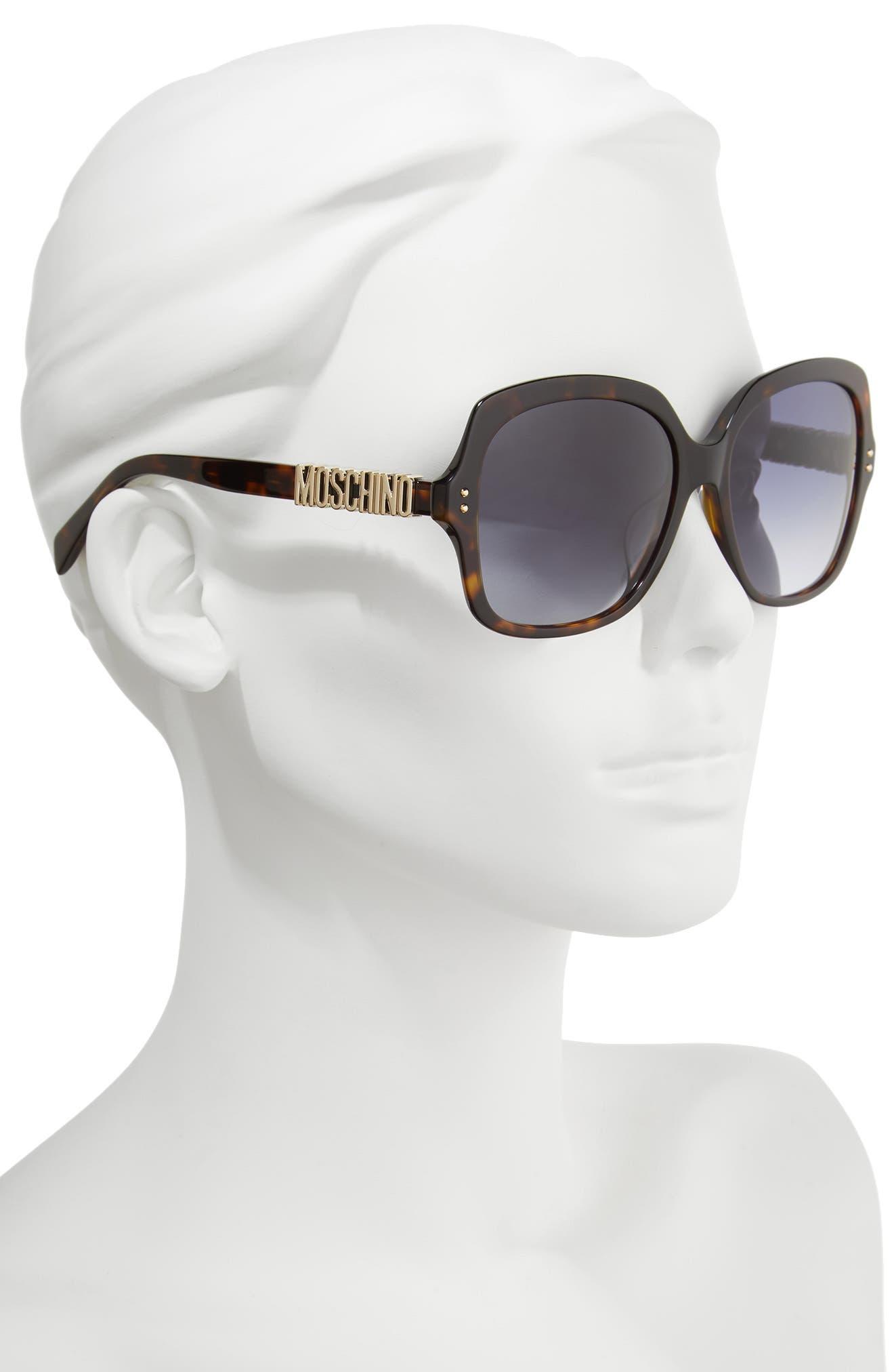57mm Oversized Polarized Sunglasses,                             Alternate thumbnail 2, color,                             Dark Havana