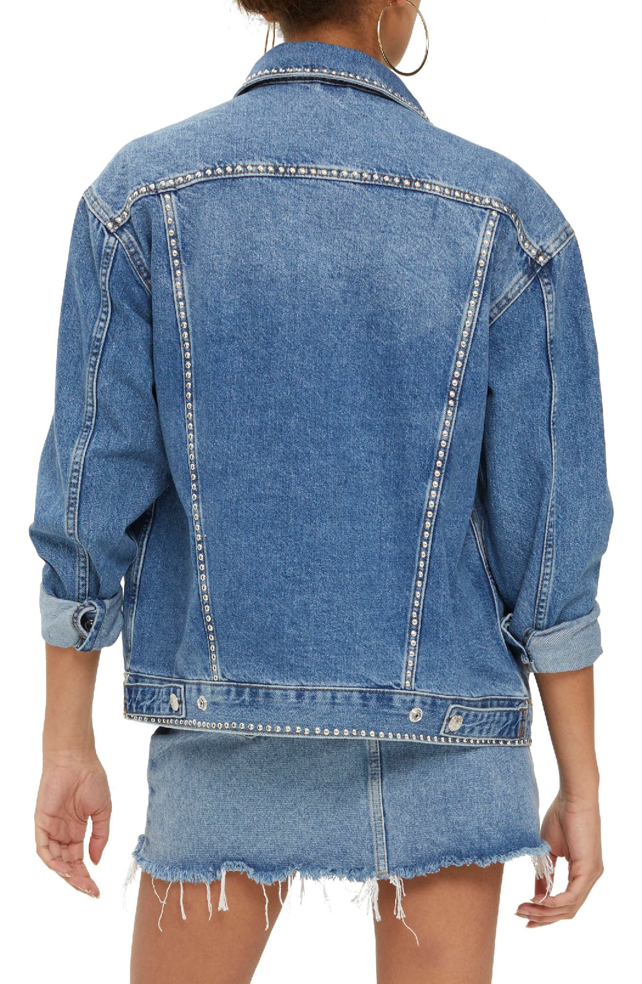 Studded Denim Jacket,                             Alternate thumbnail 4, color,                             Mid Denim