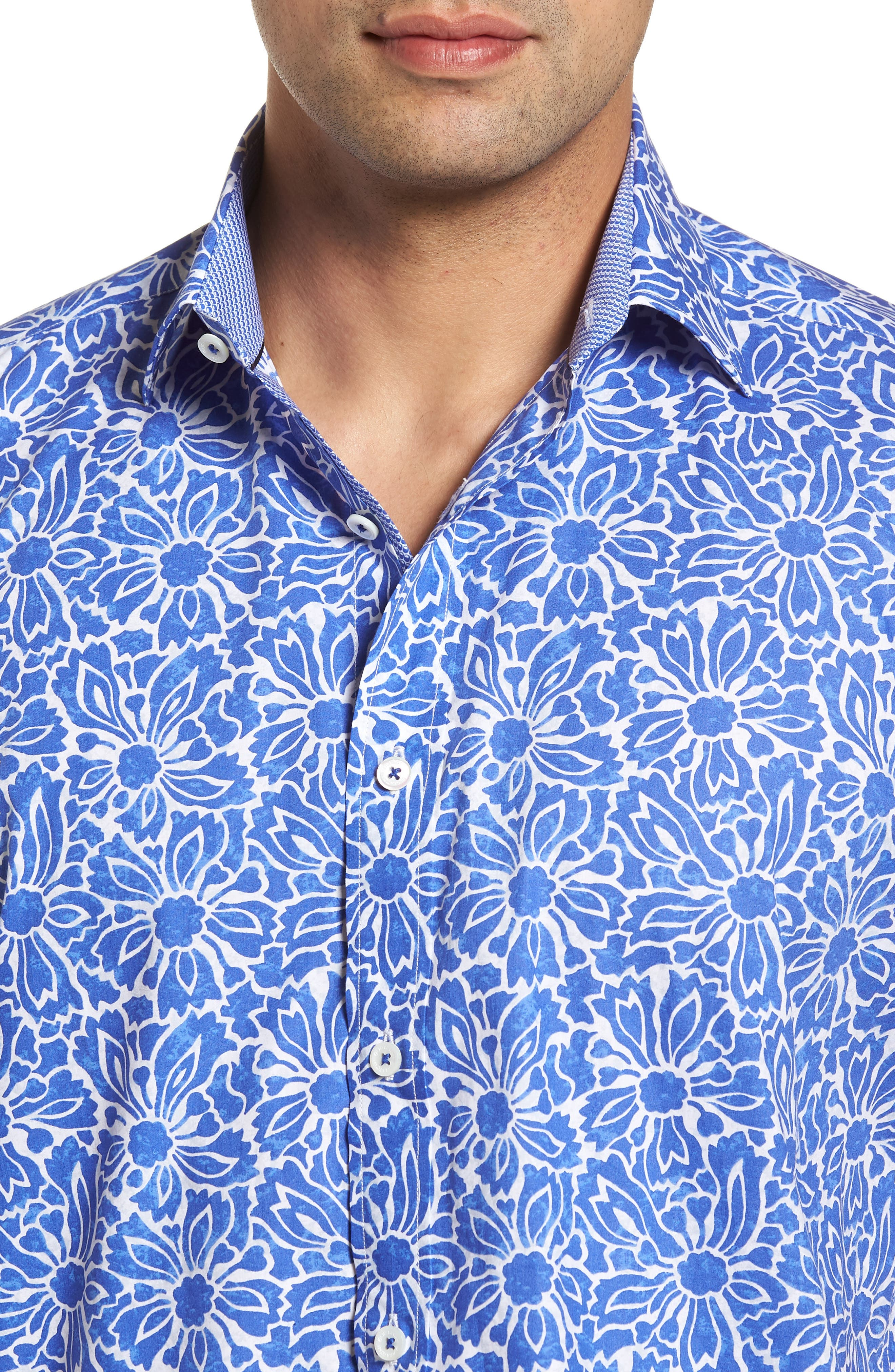 Classic Fit Floral Sport Shirt,                             Alternate thumbnail 4, color,                             Royal