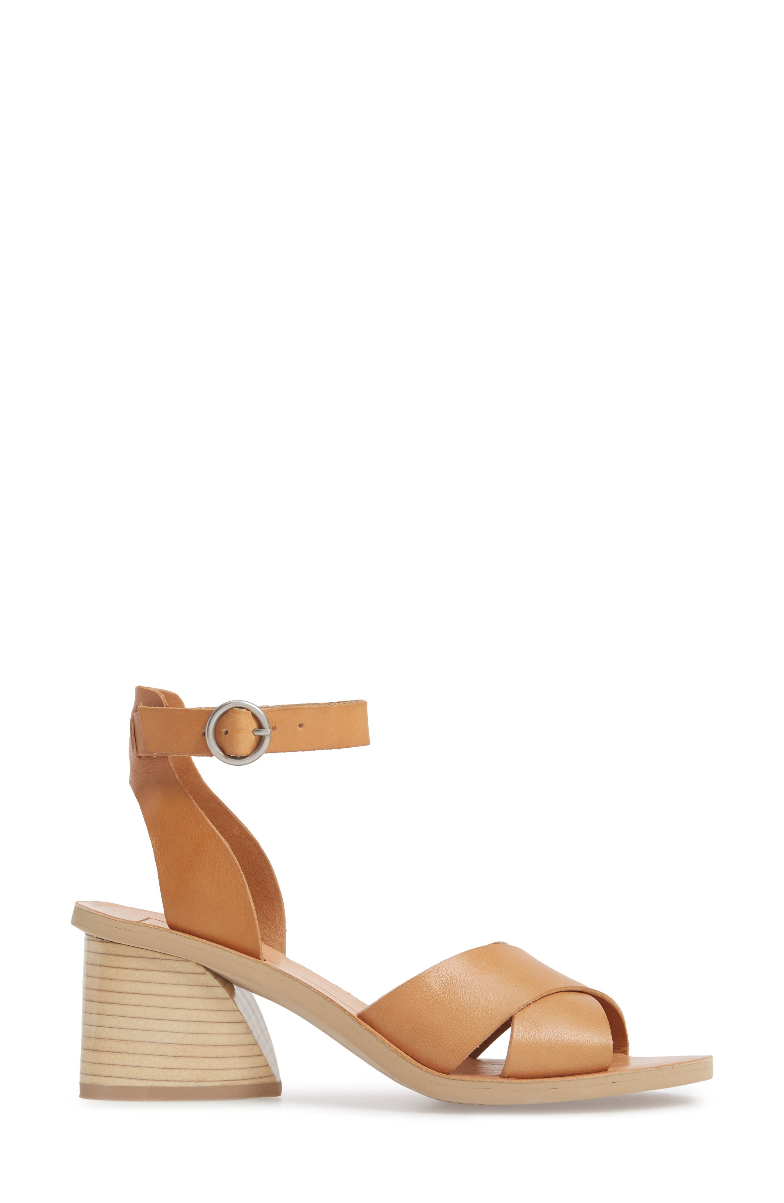 Roman Flared Heel Sandal,                             Alternate thumbnail 3, color,                             Caramel Leather