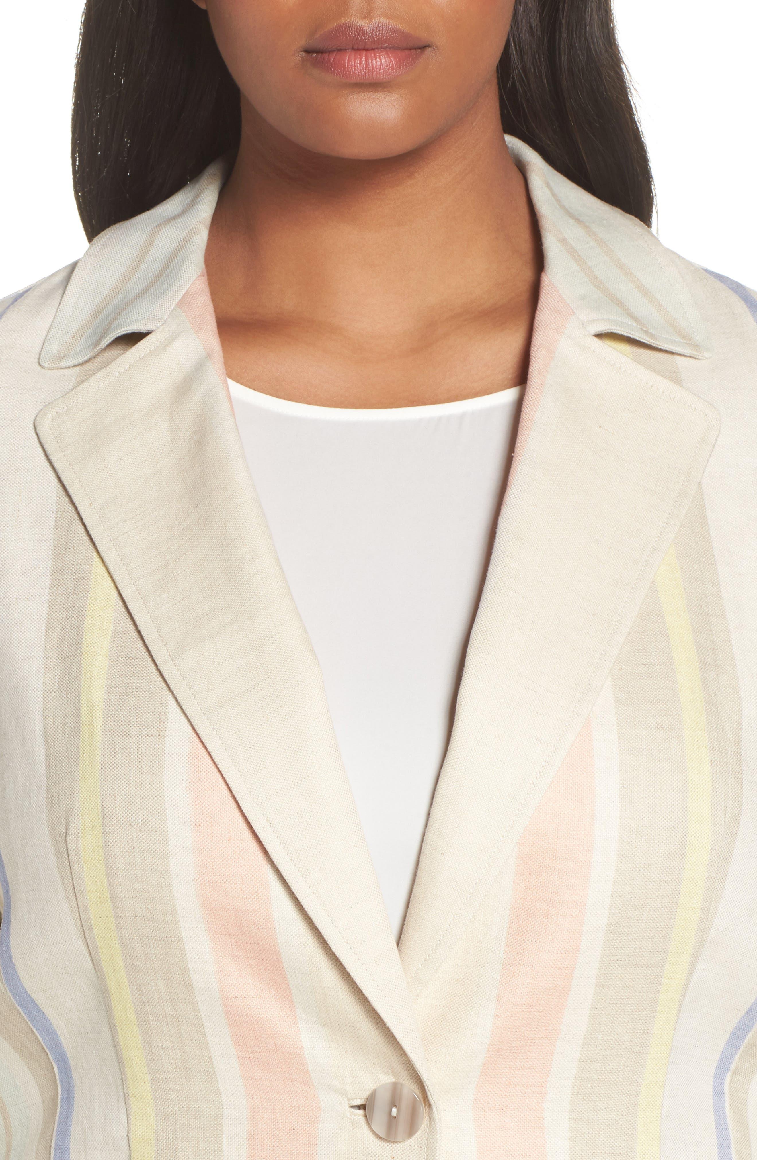 Marie Stripe Linen Jacket,                             Alternate thumbnail 4, color,                             Raffia Multi