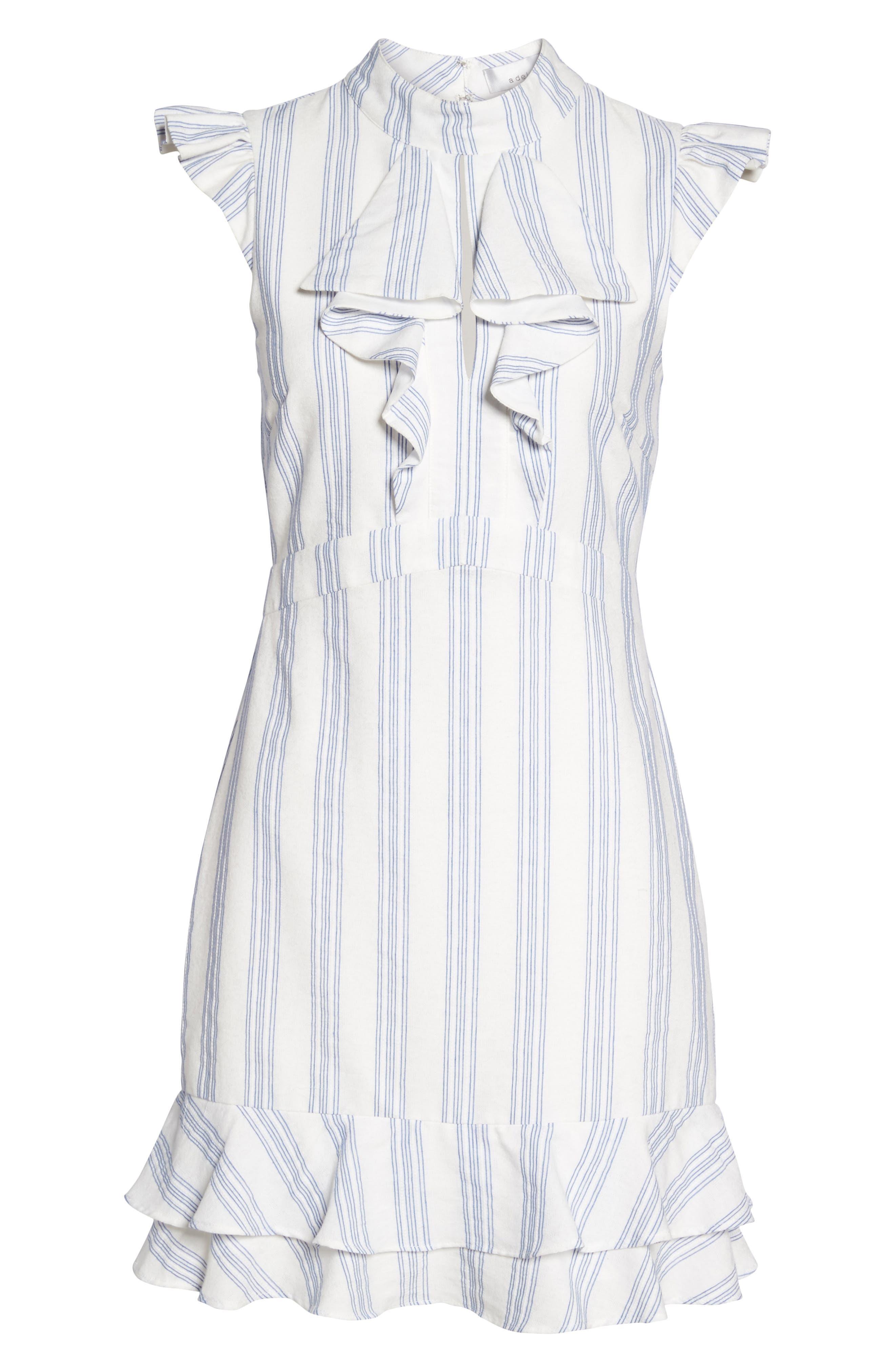 Stripe Ruffle Sheath Dress,                             Alternate thumbnail 6, color,                             White/ Blue