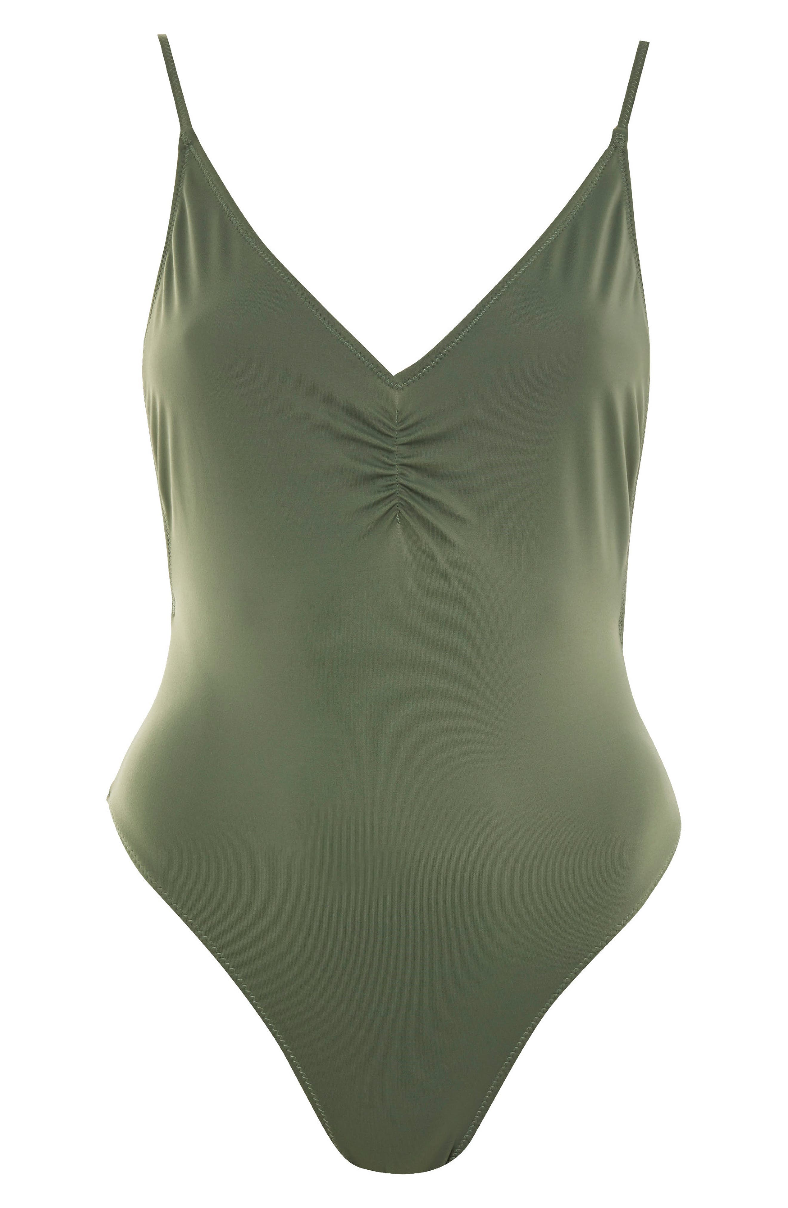 Ruched Front Plunge Swimsuit,                             Alternate thumbnail 3, color,                             Olive