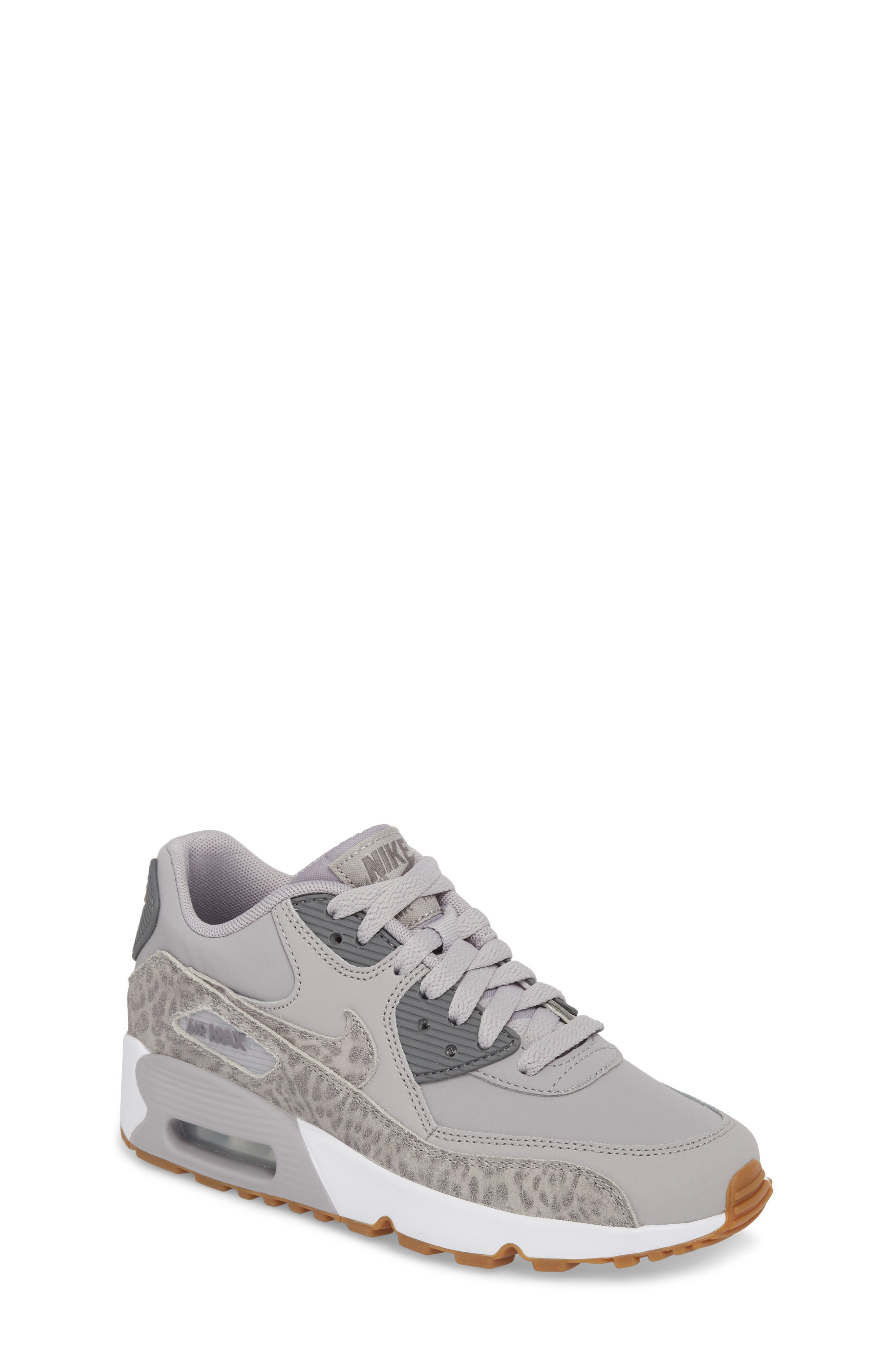 Air Max 90 Leather Sneaker,                         Main,                         color, Atmosphere Grey/ Smoke/ White