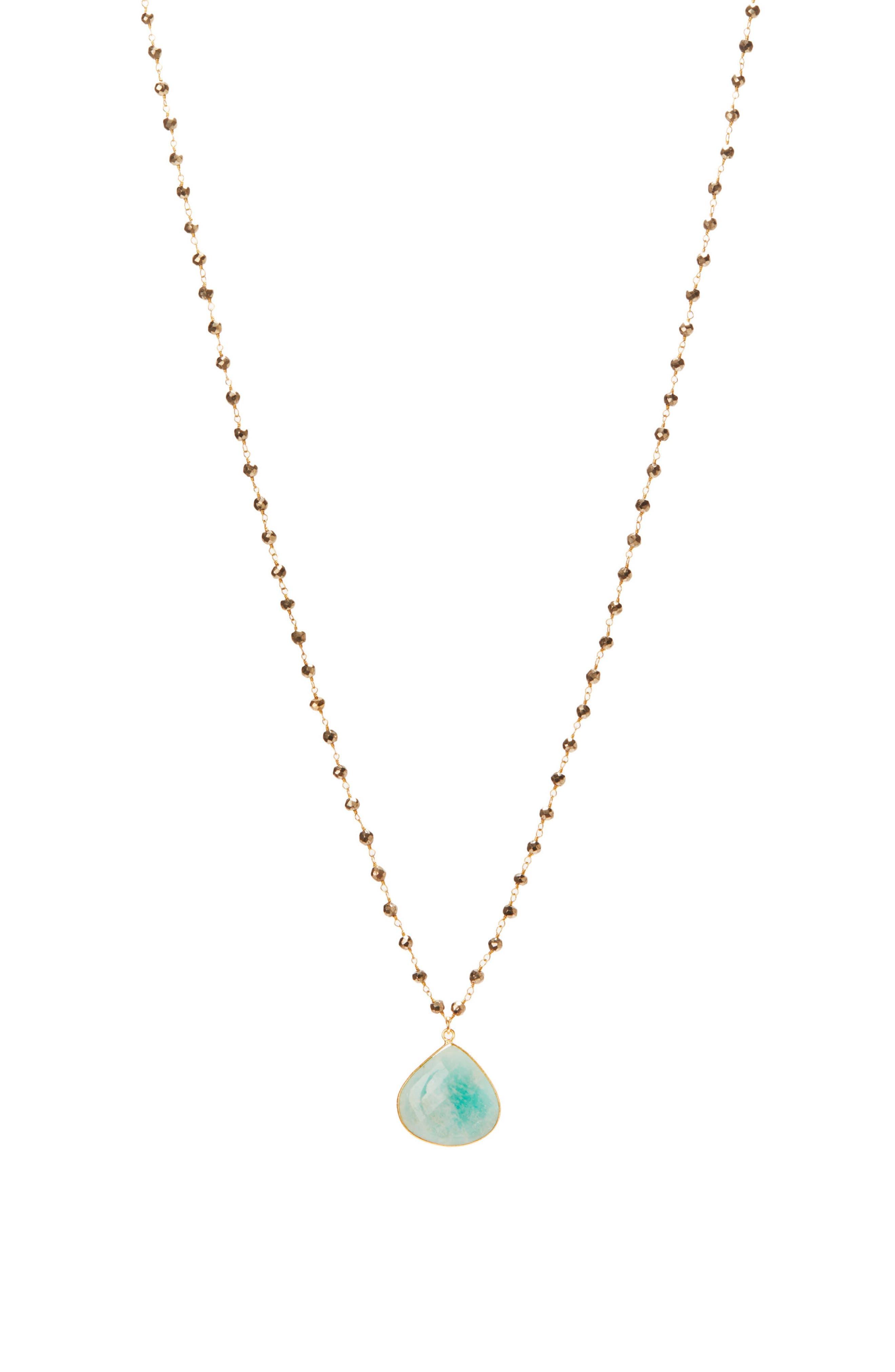 Monterey Semiprecious Stone Pendant Necklace,                             Main thumbnail 1, color,                             Amazonite