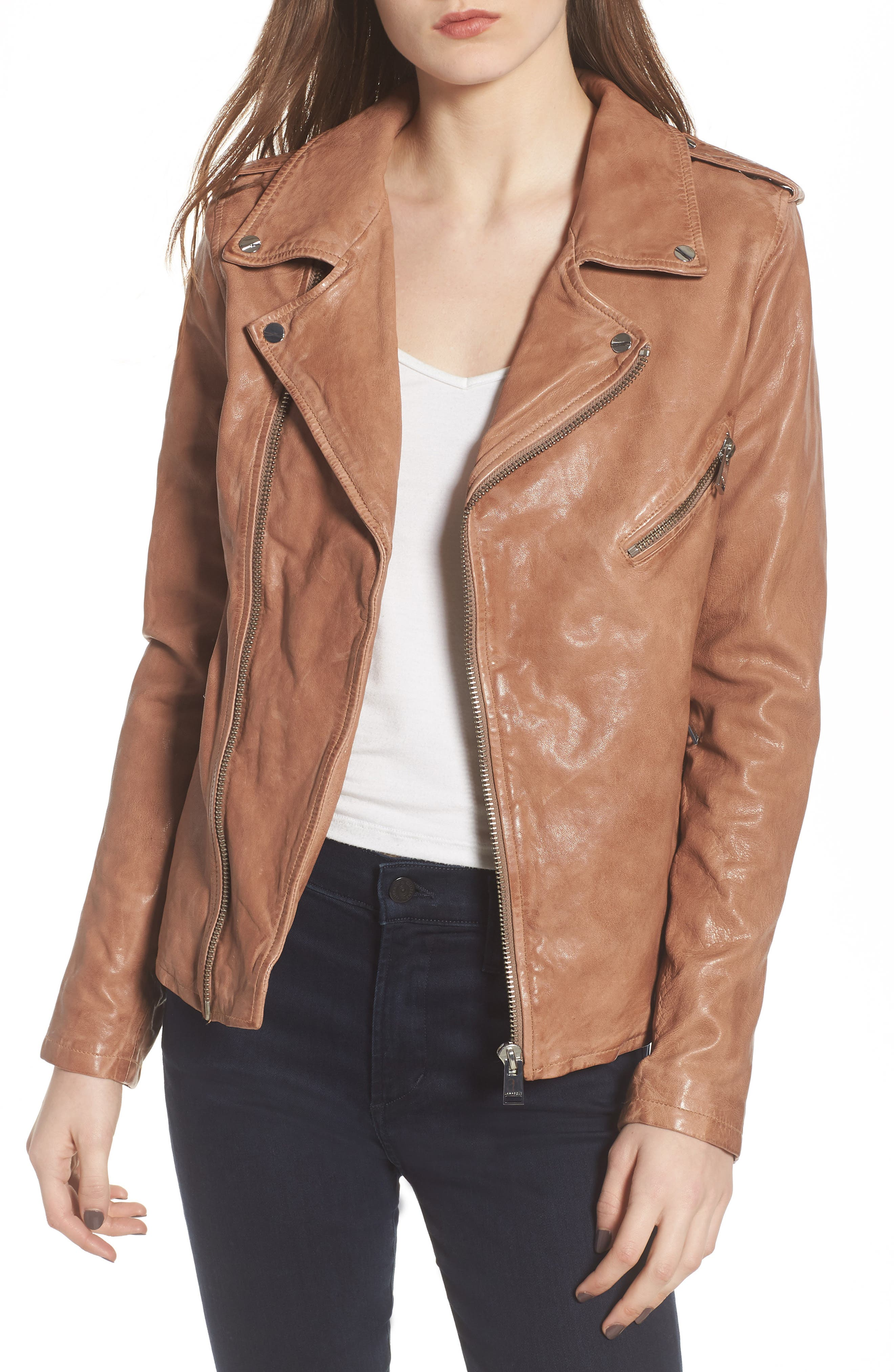 LAMARQUE Washed Lambskin Leather Moto Jacket
