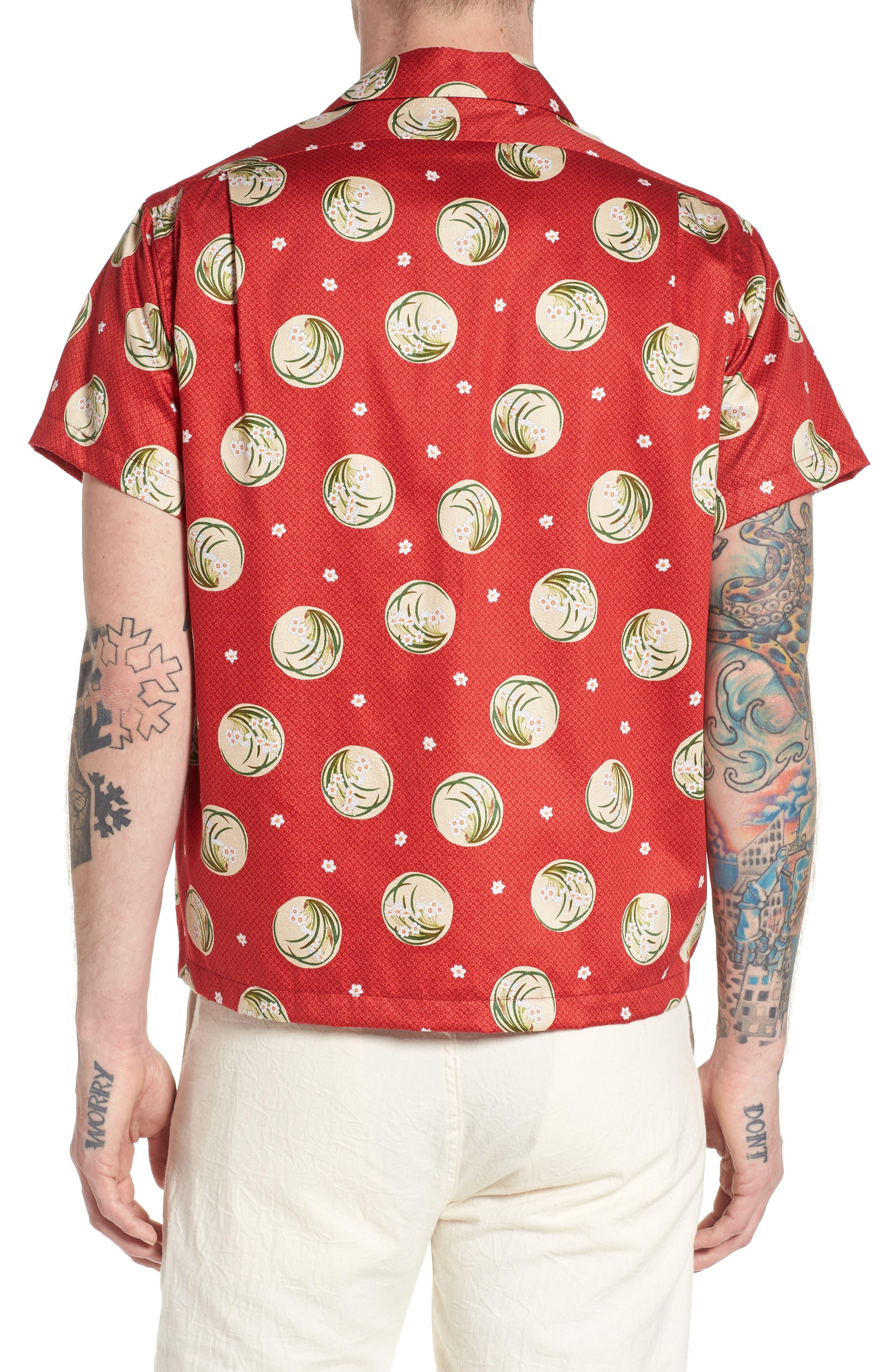 Japanese Springtime Woven Shirt,                             Alternate thumbnail 2, color,                             Red