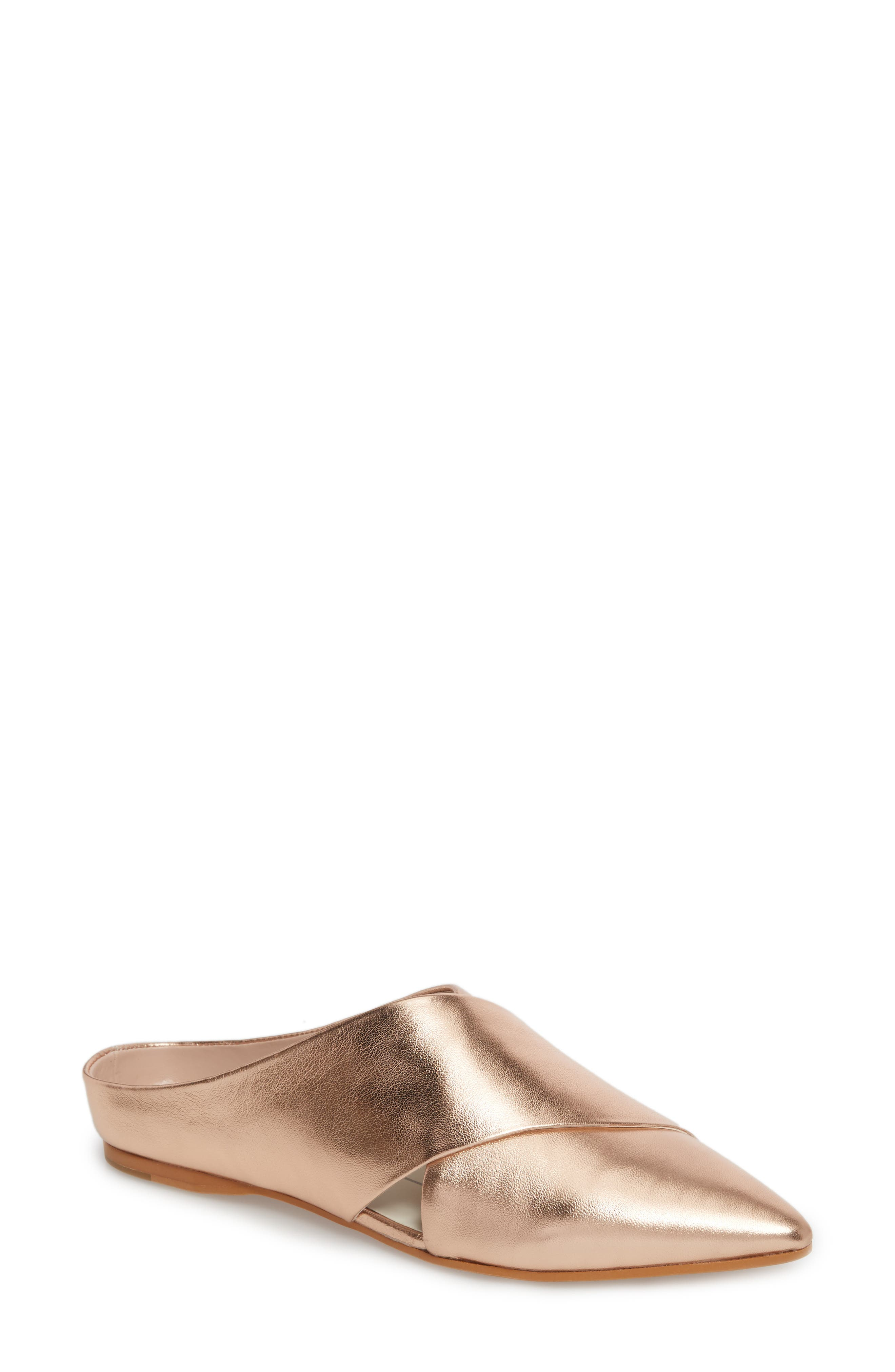 Camia Cross Band Mule,                         Main,                         color, Rose Gold Leather