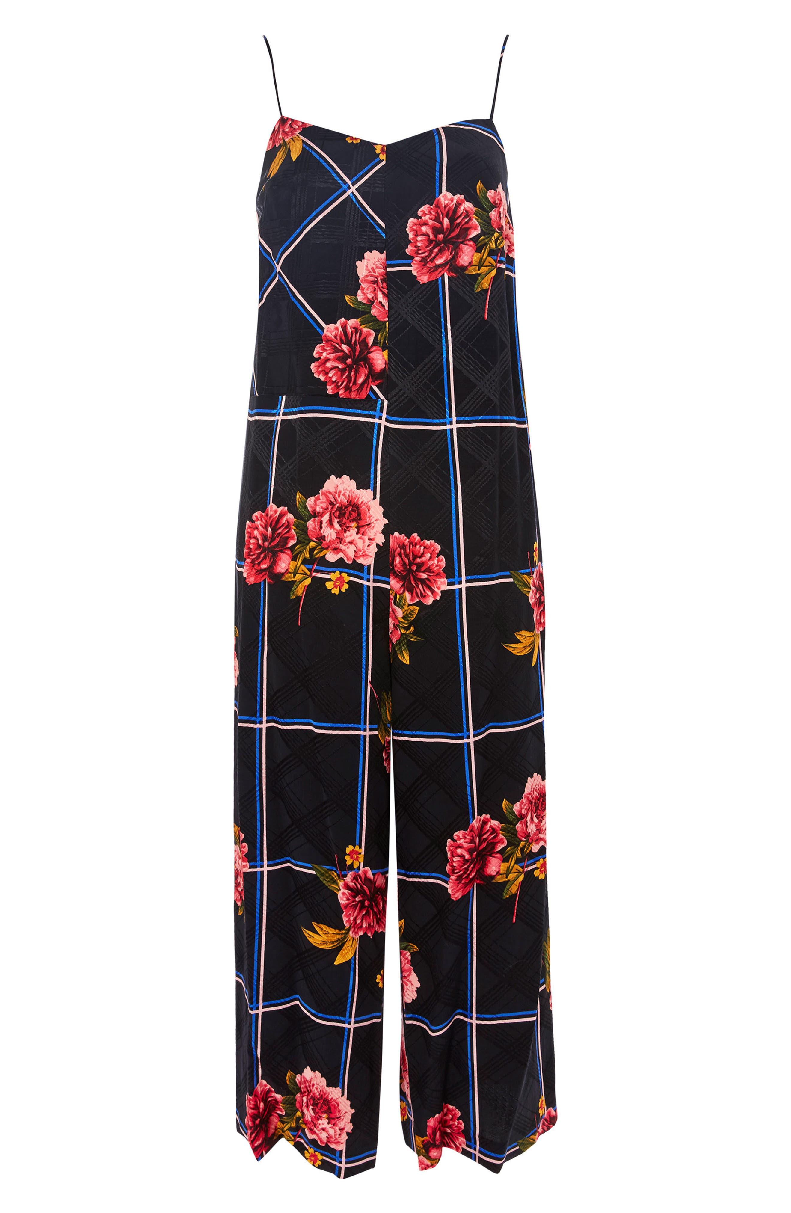 Check Floral Jumpsuit,                             Main thumbnail 1, color,                             Black Multi