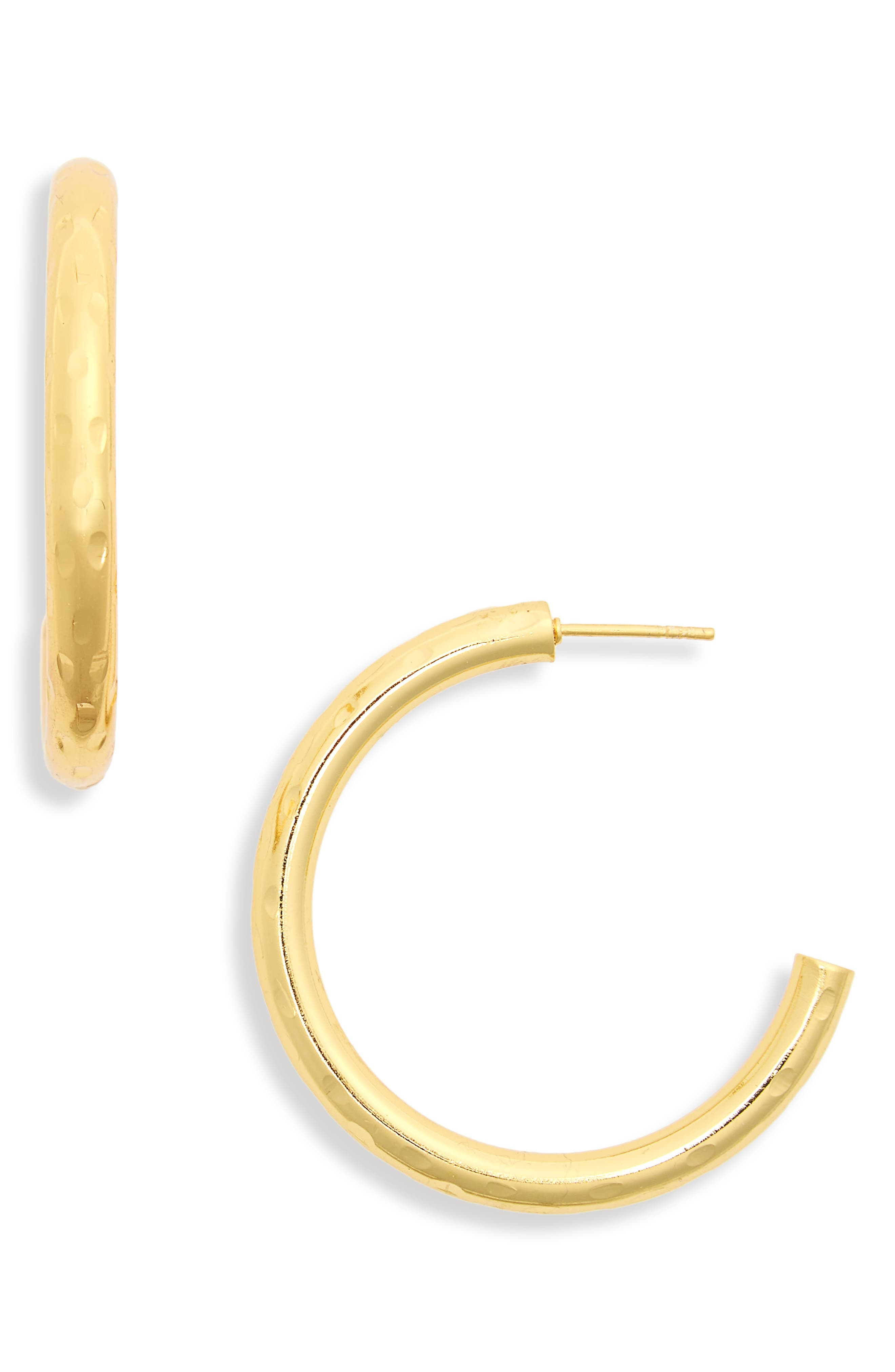 Hammered Tube Hoop Earrings,                             Main thumbnail 1, color,                             Gold
