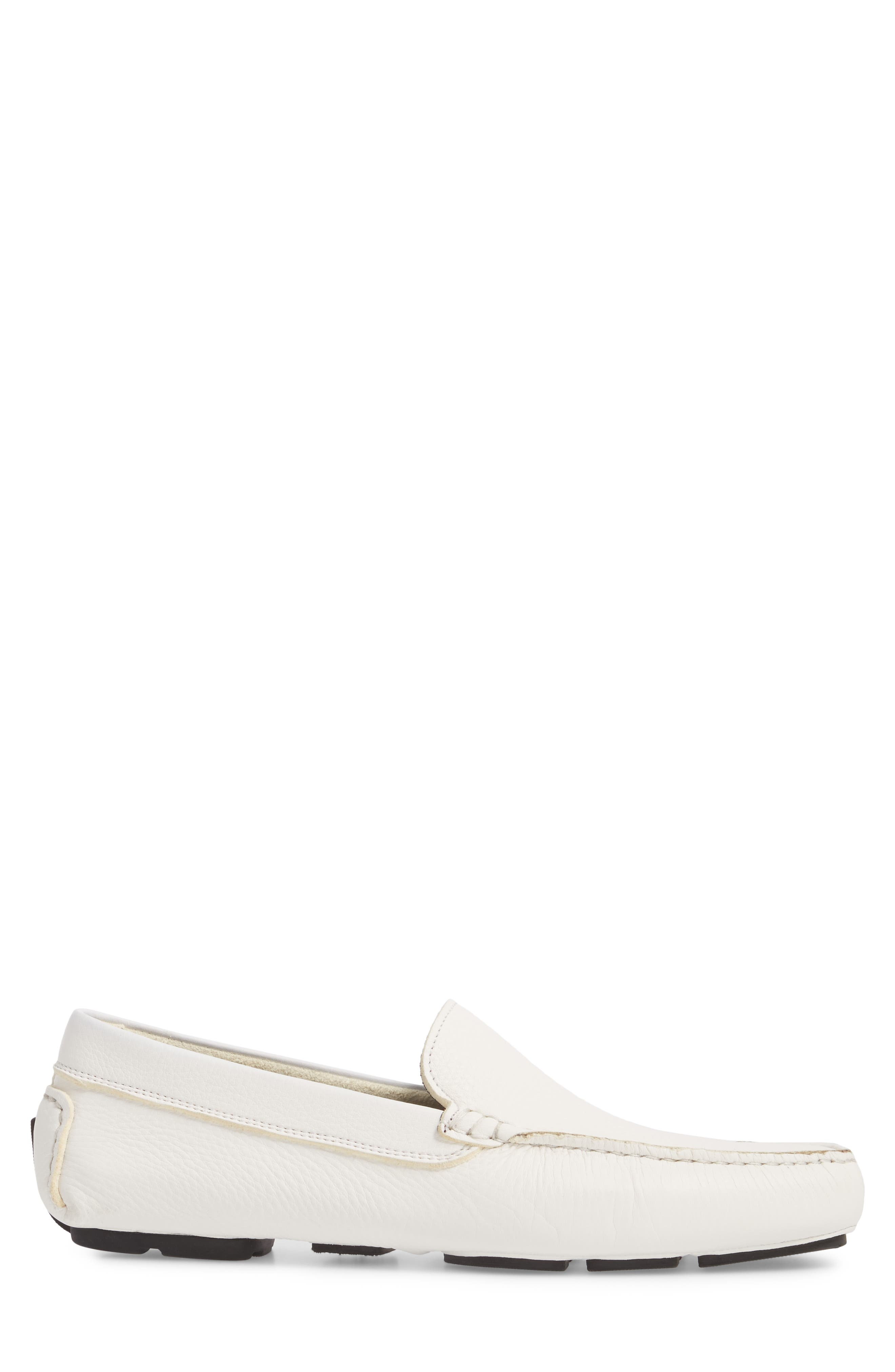Harlan Driving Loafer,                             Alternate thumbnail 3, color,                             White Leather