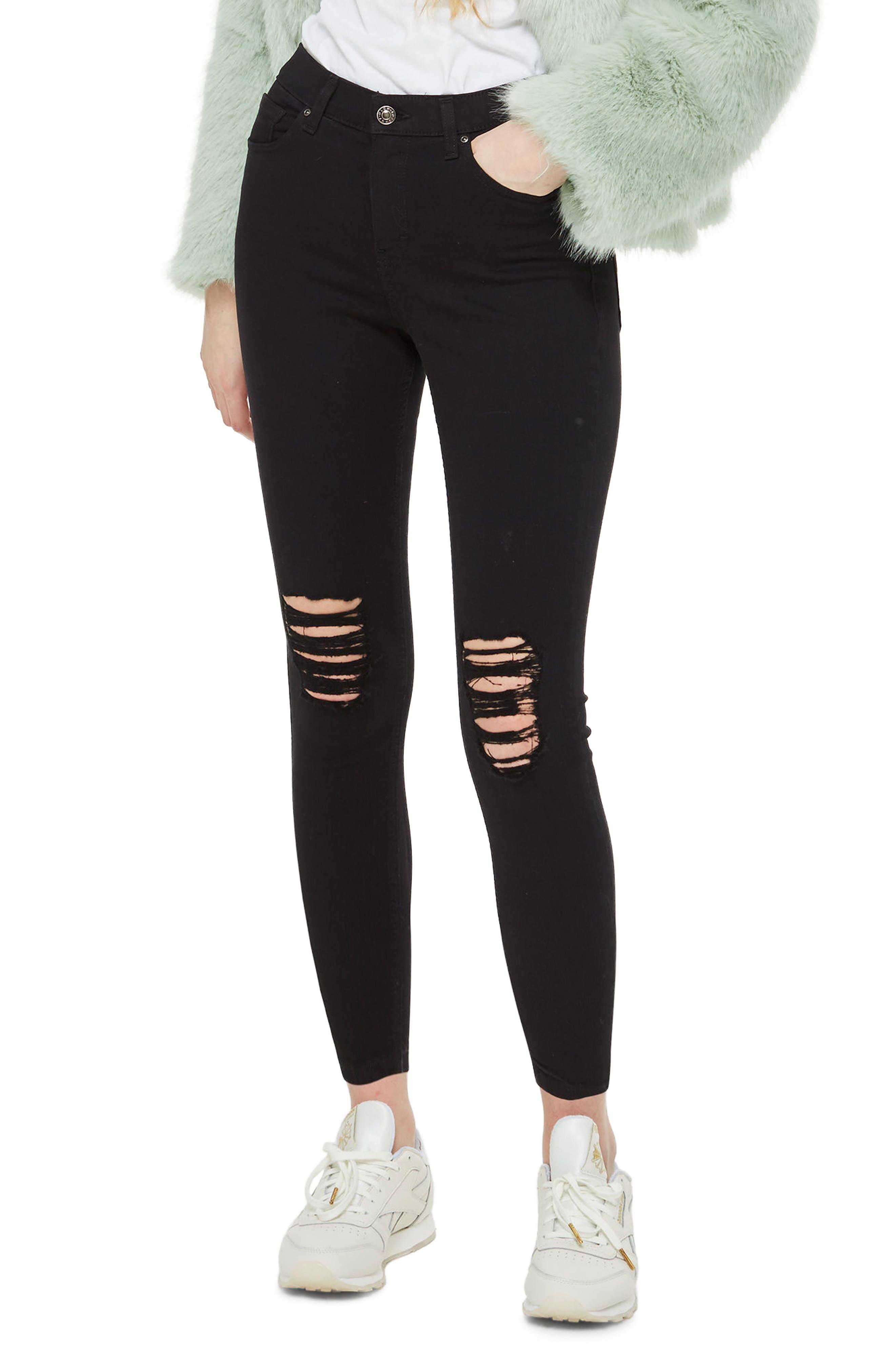 Ripped Petite Jamie Jeans,                         Main,                         color, Black