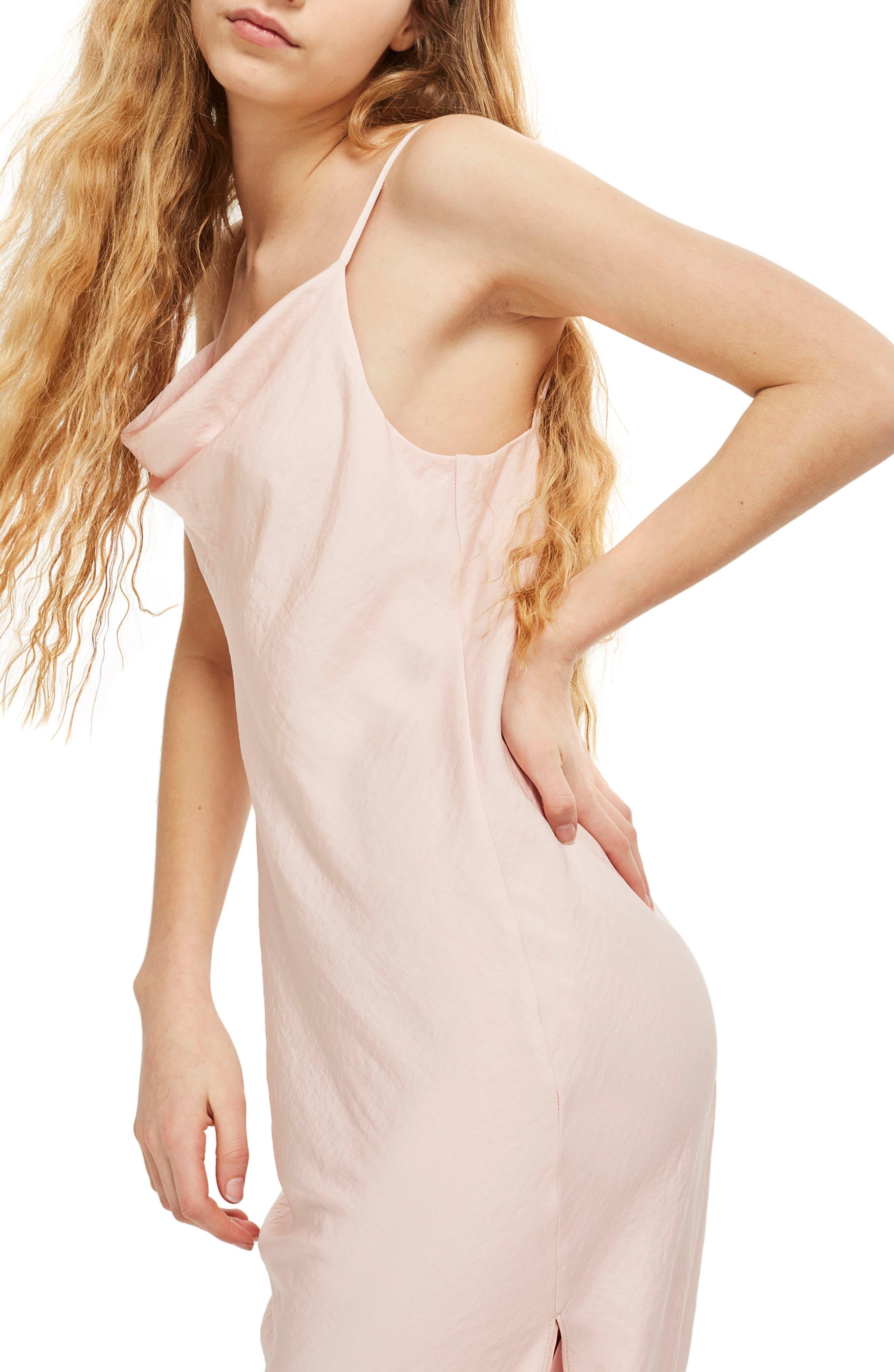 Cowl Neck Satin Midi Dress,                             Alternate thumbnail 4, color,                             Blush